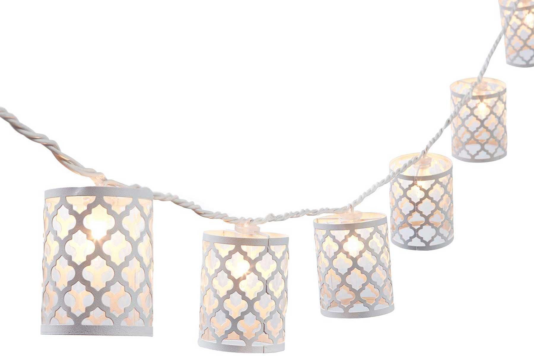 NIOSTA white metal lantern string lights
