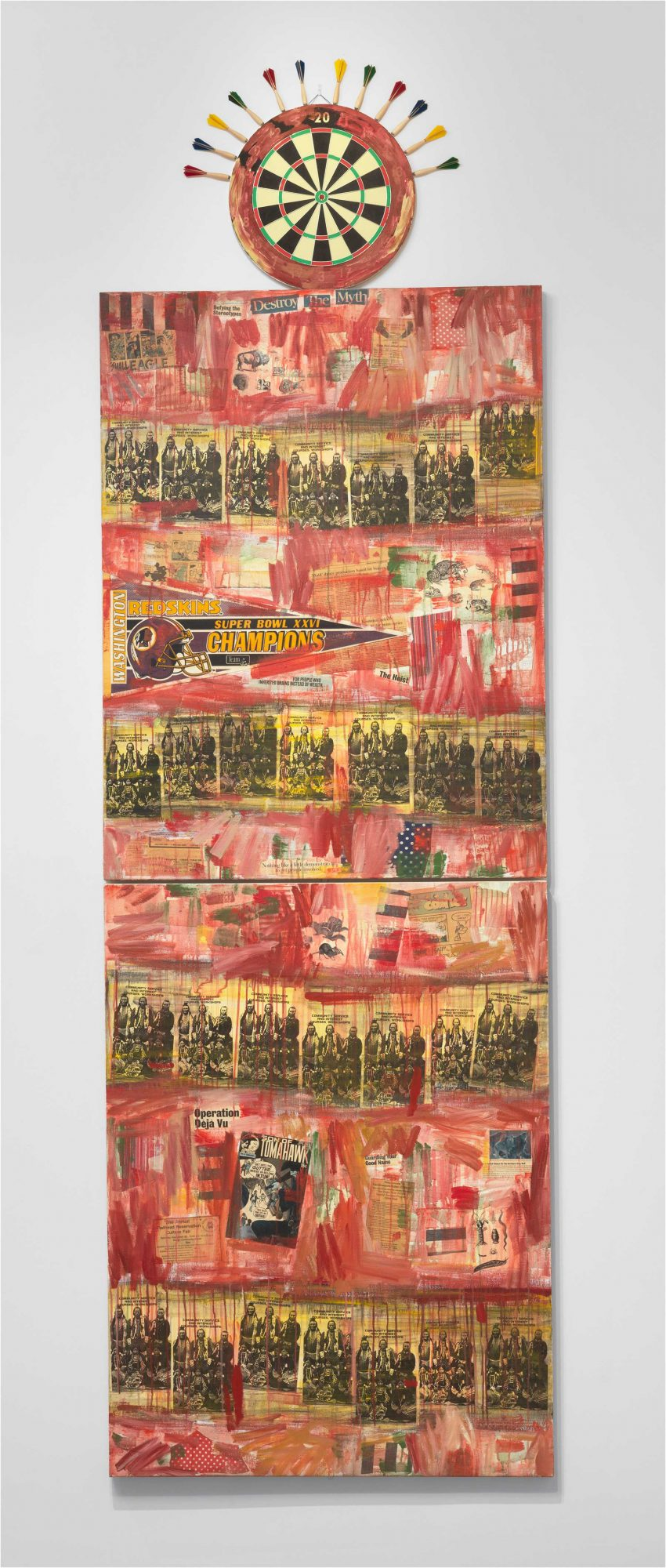 Jaune Quick-to-See Smith, I See Red: Target, 1992, mixed media on canvas overall (three parts): 340.4 x 106.7 cm (134 x 42 in.)