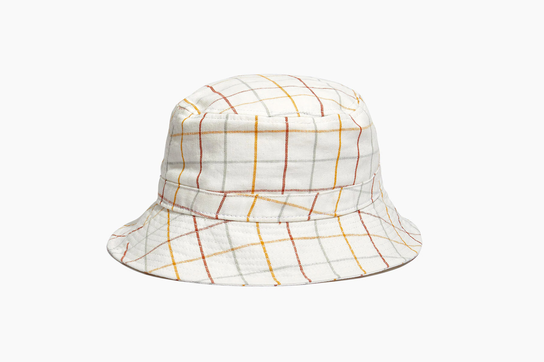 White and multi-colored striped bucket hat