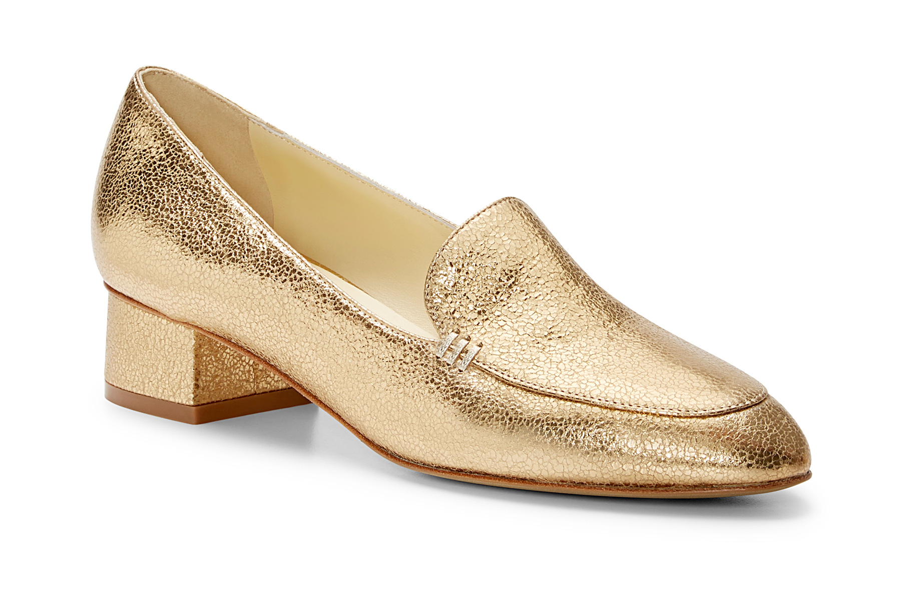 Gold loafer shoe