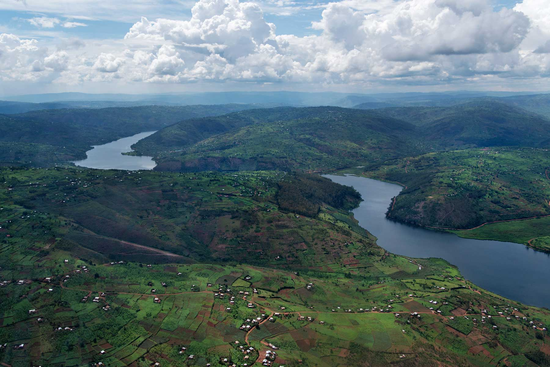Aerial view of Lake Muhazi in Rwanda