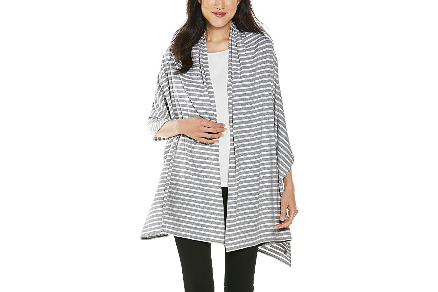 Grey and white striped shawl
