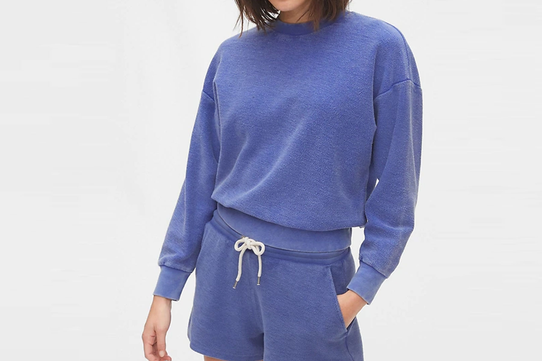 Gap Cropped French Terry Pullover Sweater