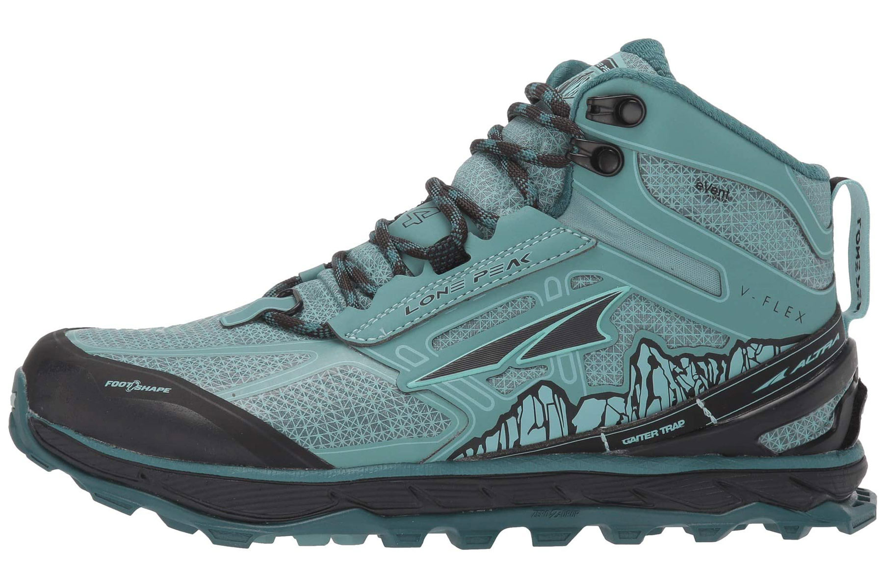 Blue and black hiking boots
