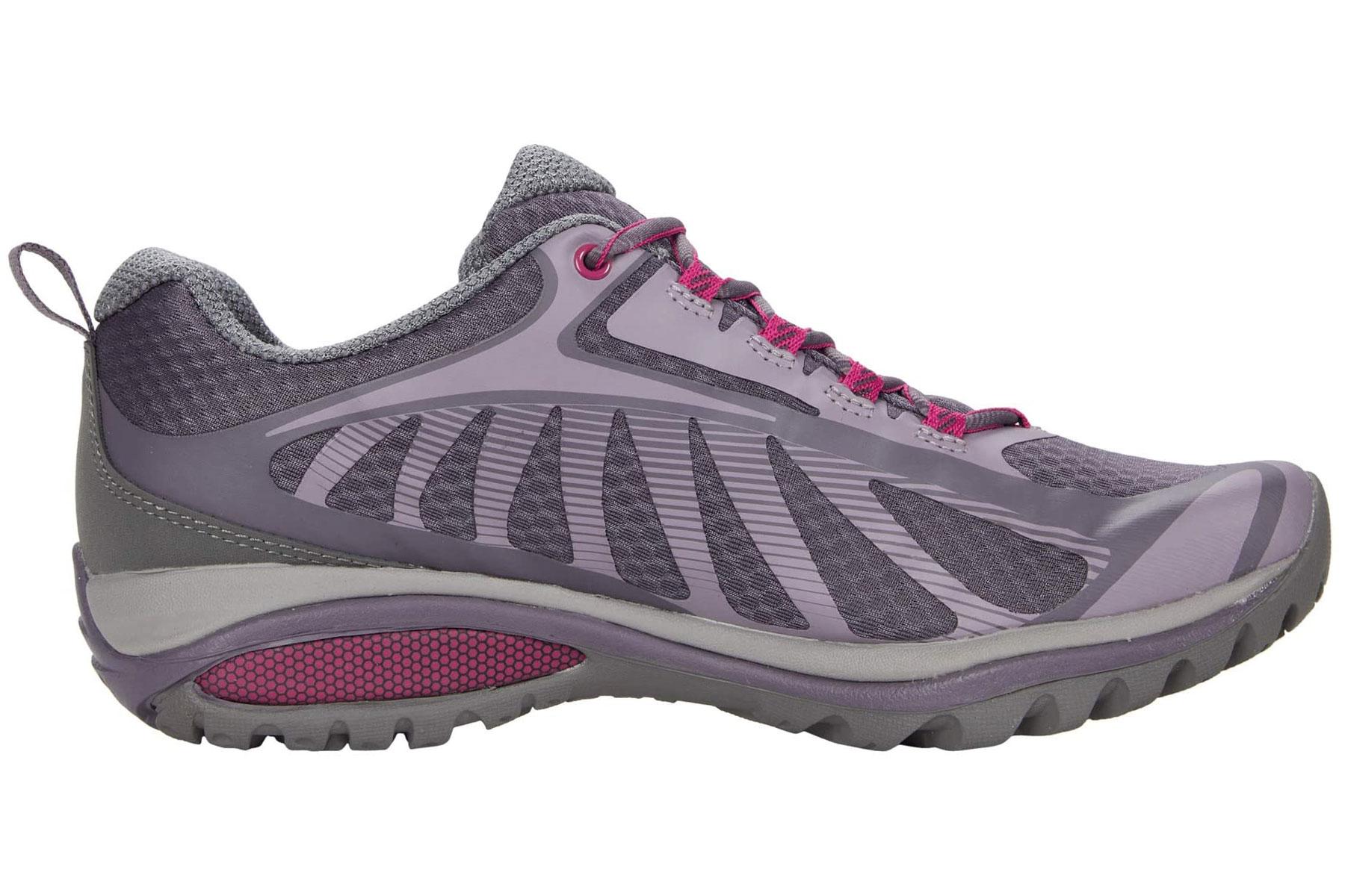 Pink and purple hiking shoes
