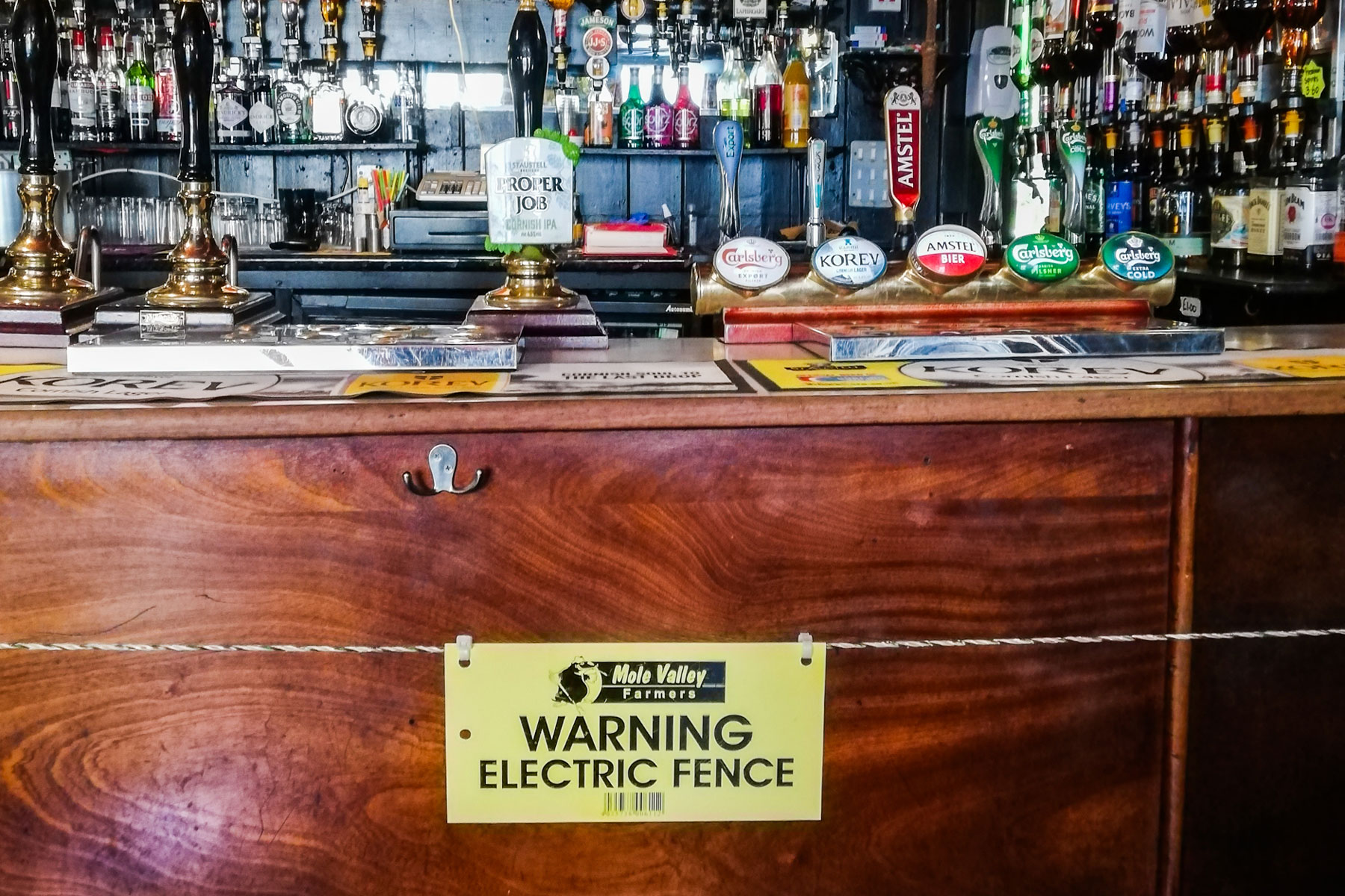 The Star Inn in St Just, Cornwall electric fence