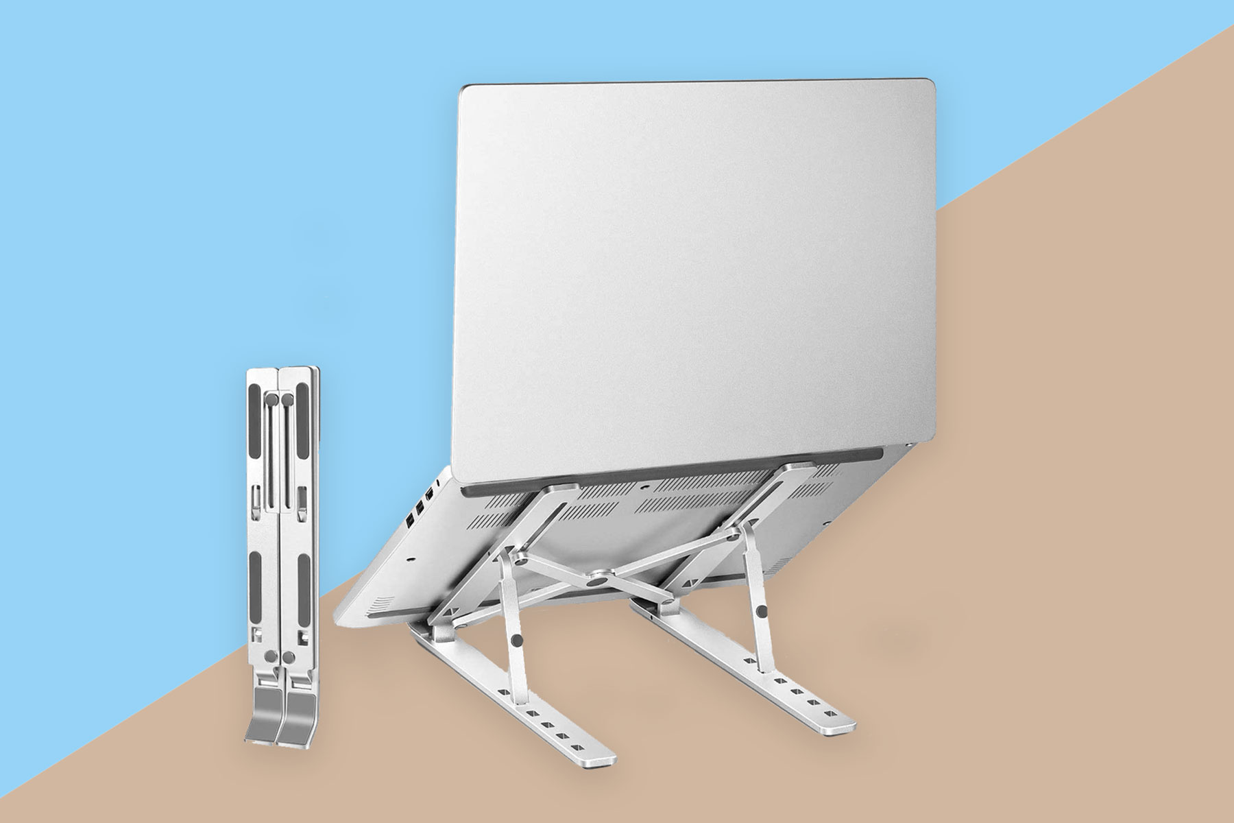 Silver/aluminum laptop stand