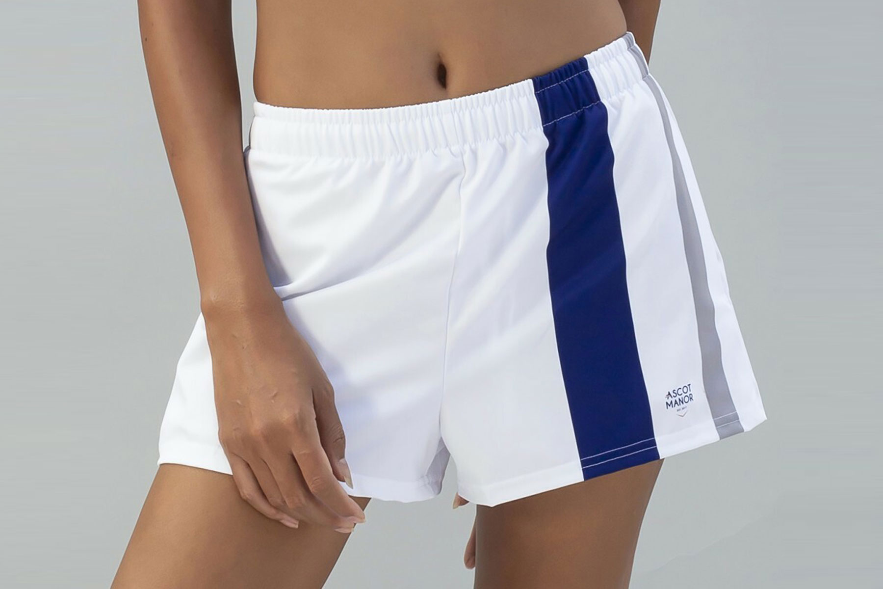 Women's white and blue athletic shorts