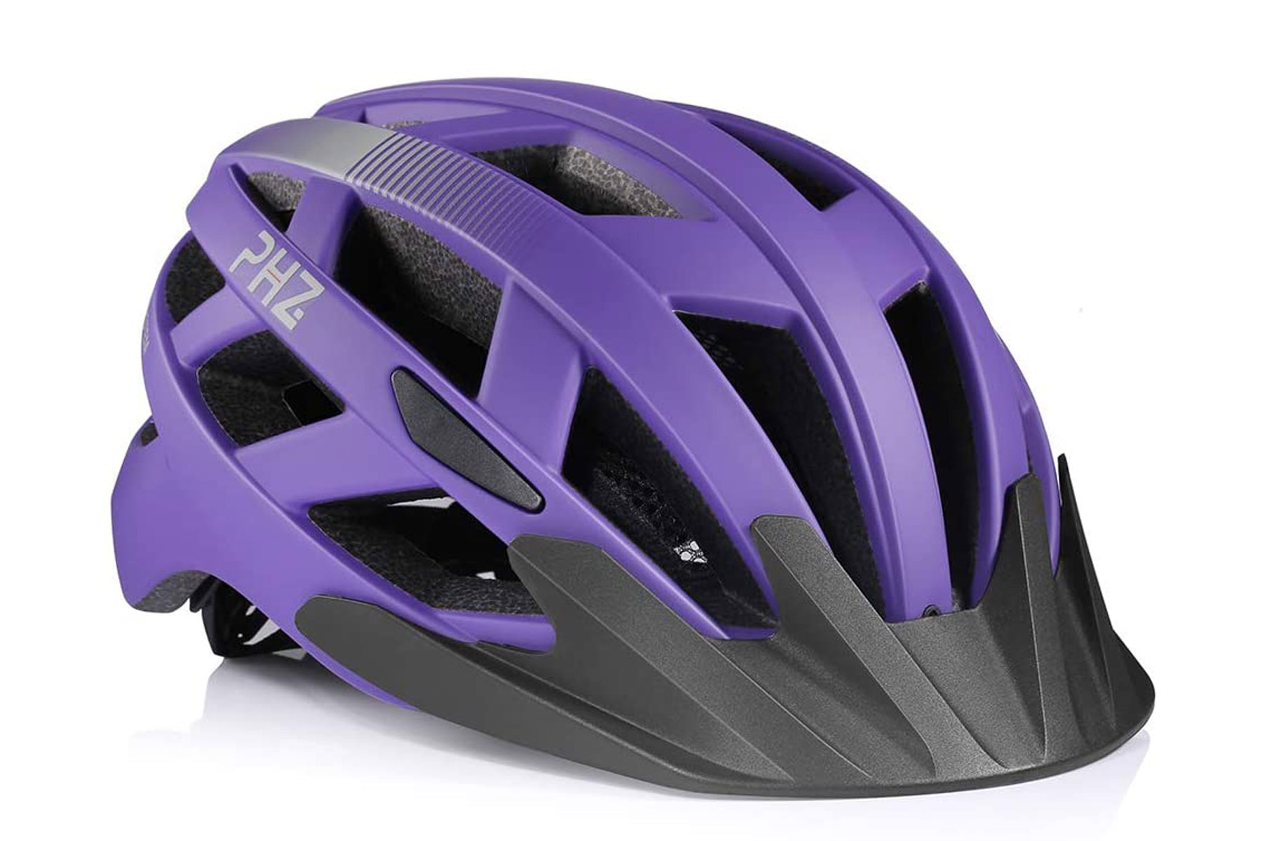 Purple bike helmet