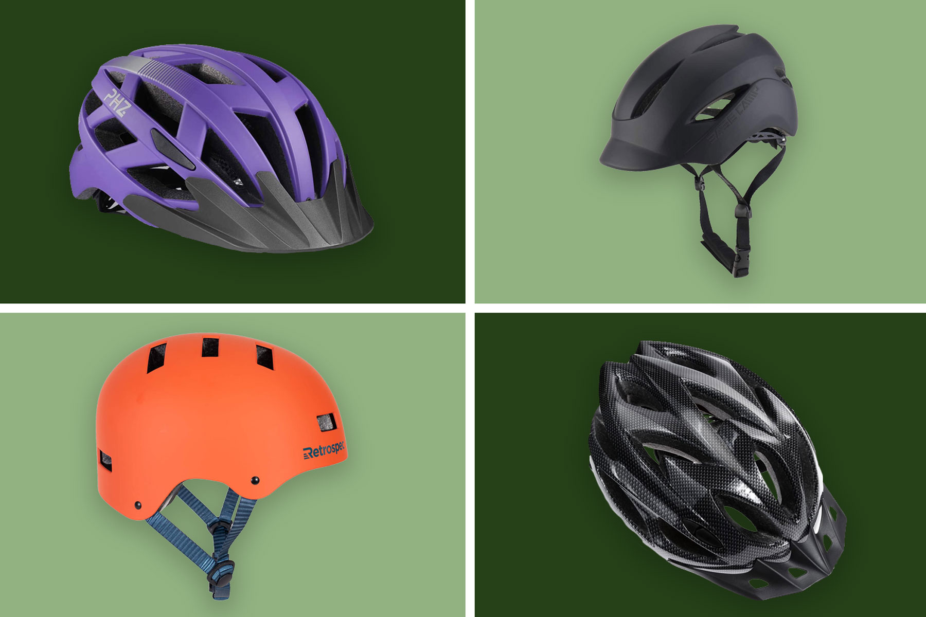 Various bike helmets