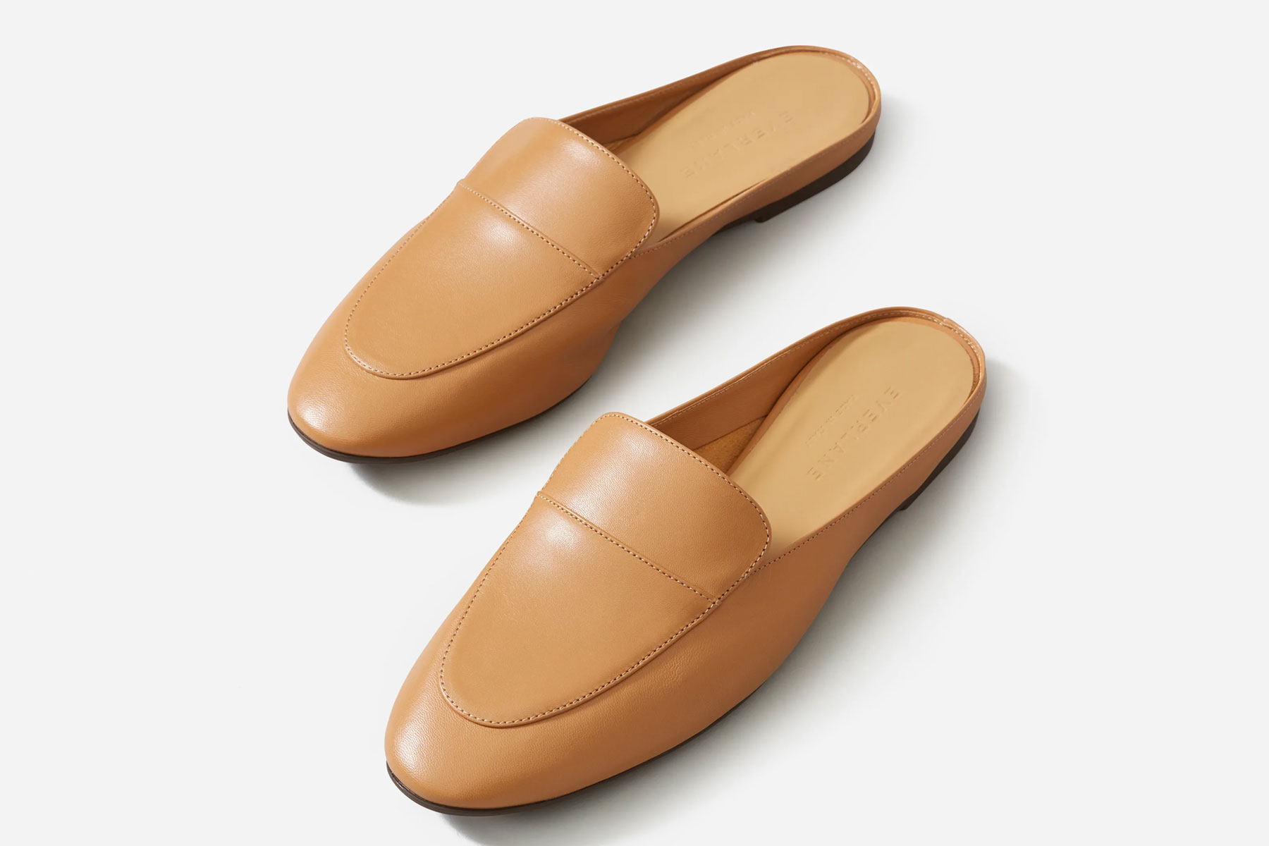 Tan leather loafer mules