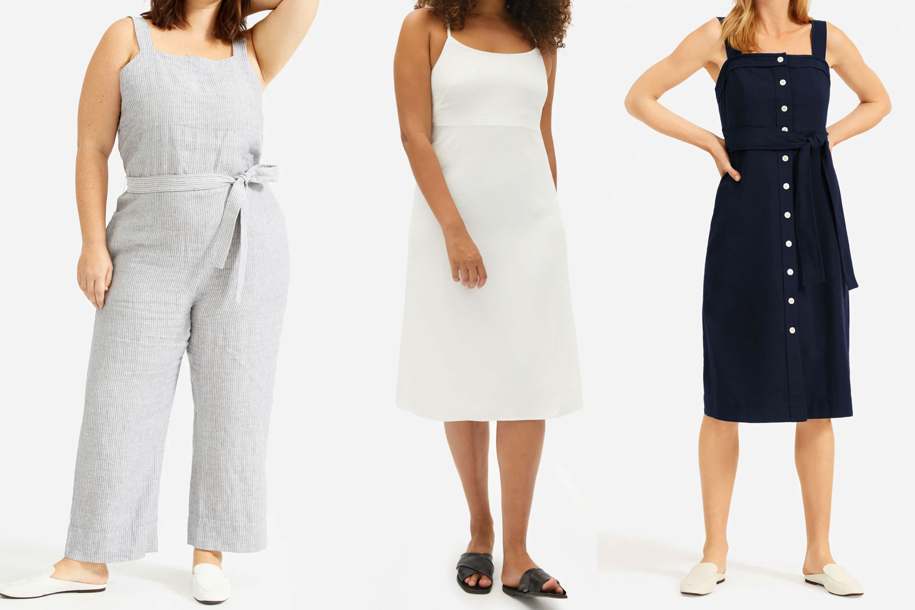 Various Everlane dresses and jumpsuits