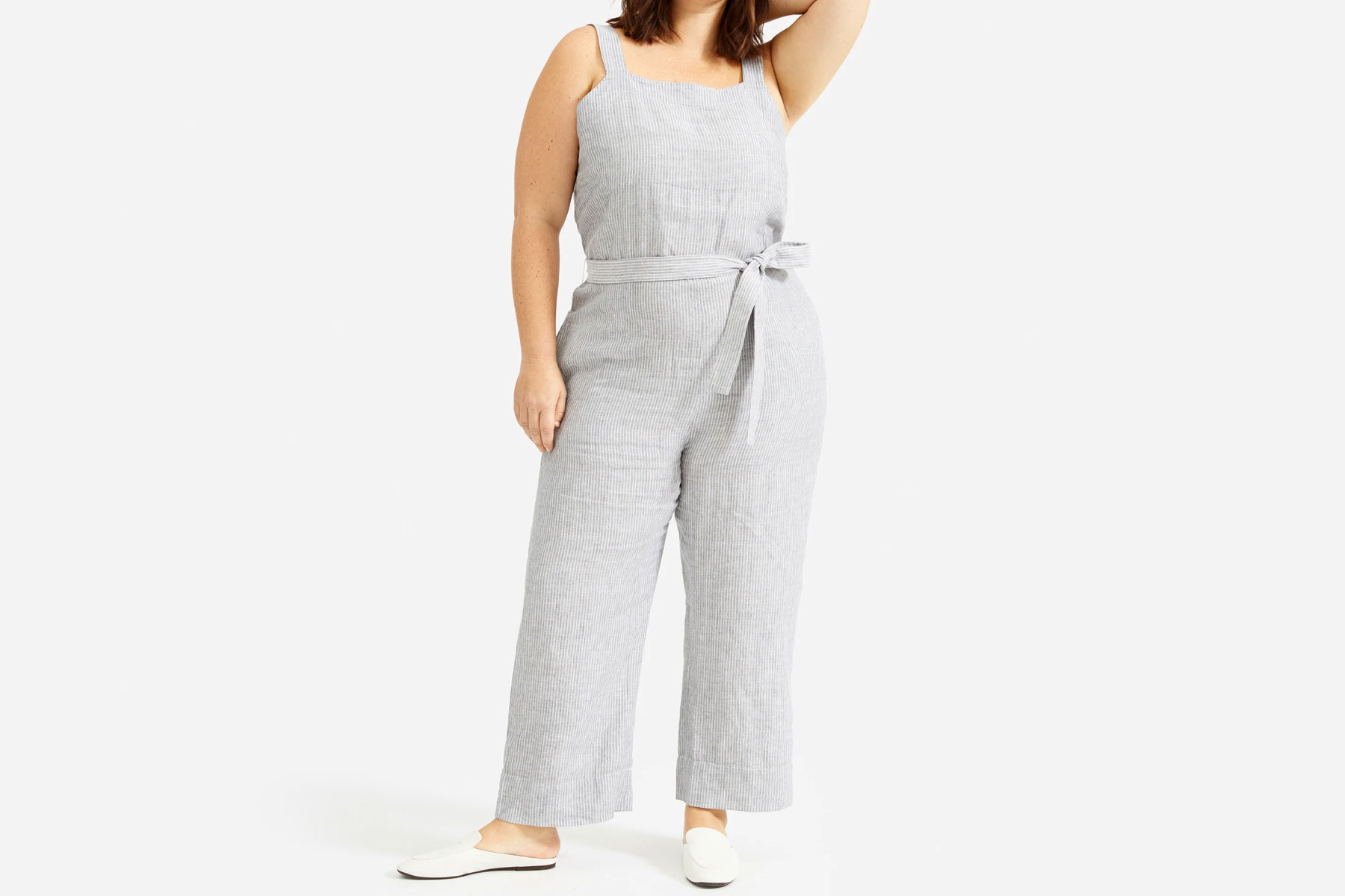 Women's grey and white striped jumpsuit