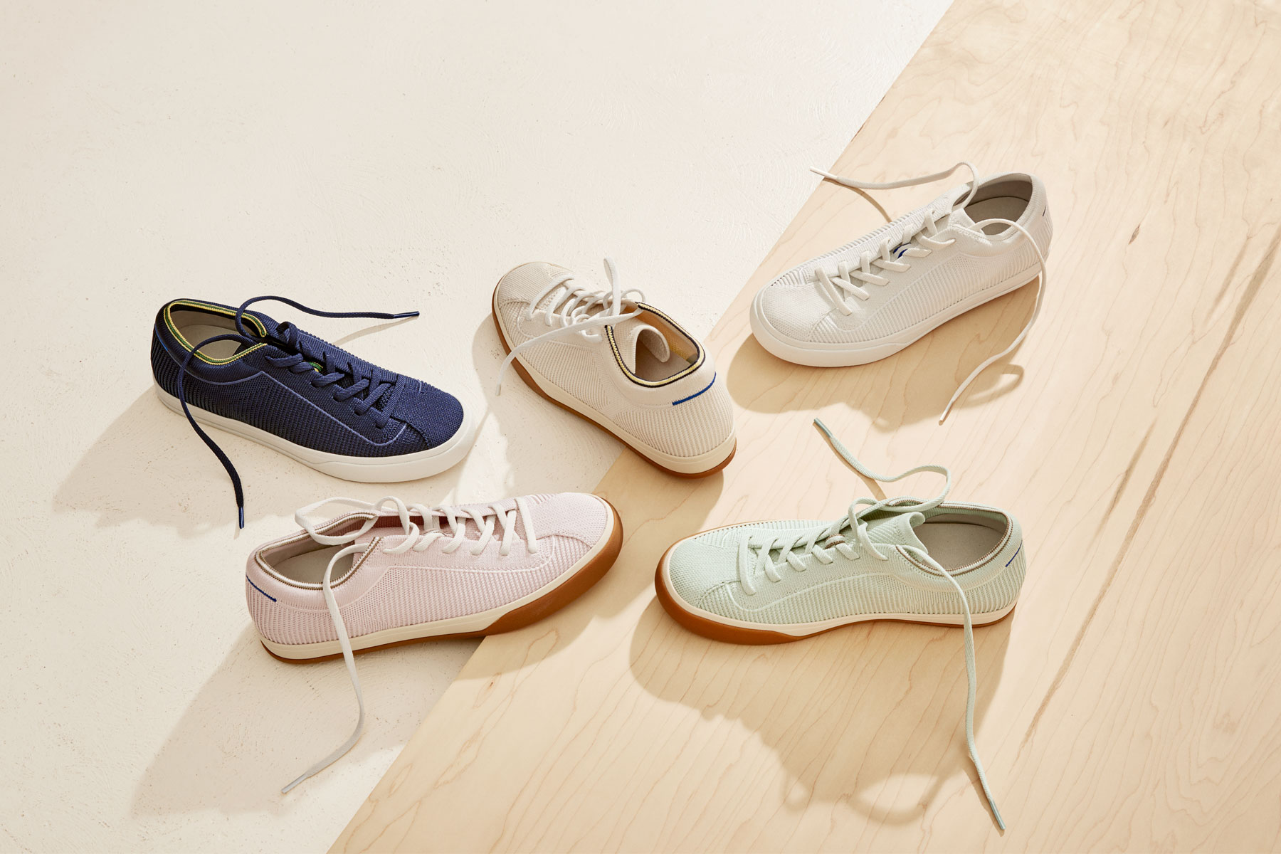 Various colors of Rothy's lace up sneakers