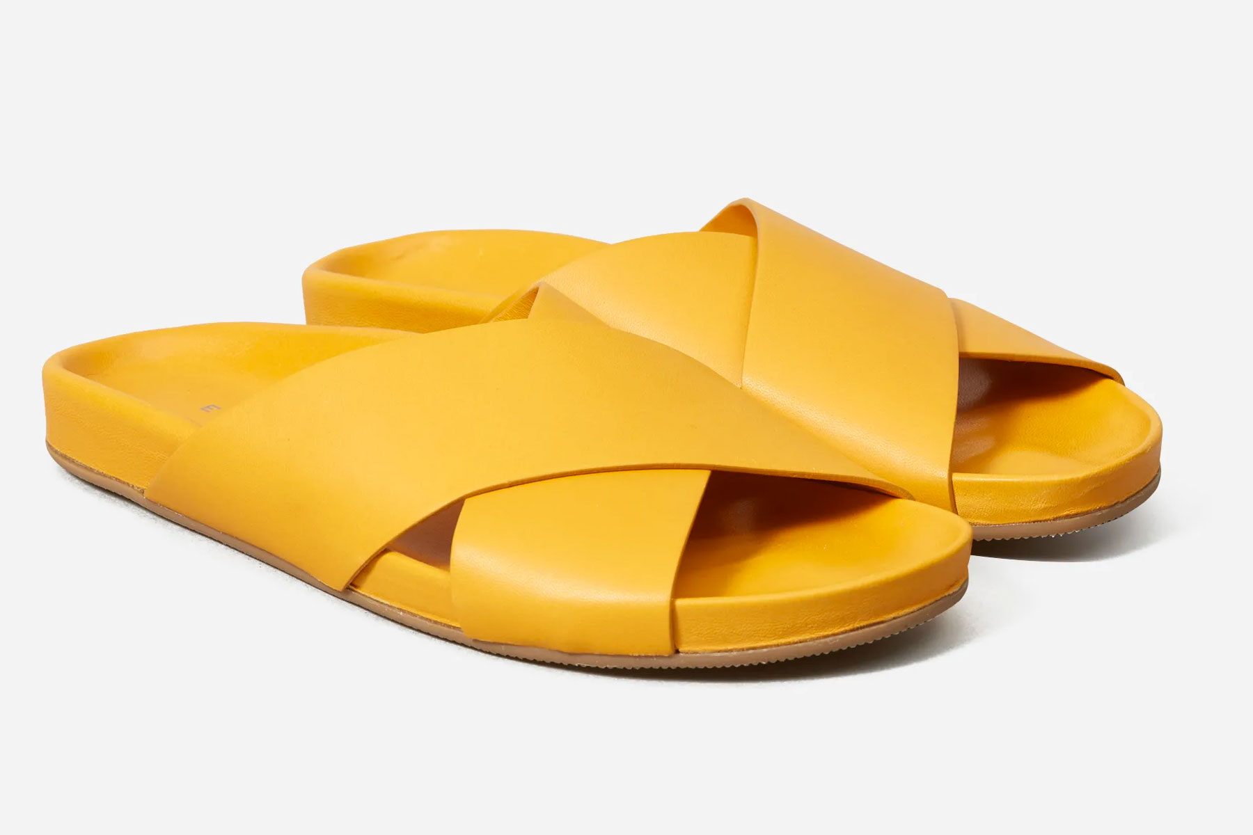 Yellow leather slide sandals