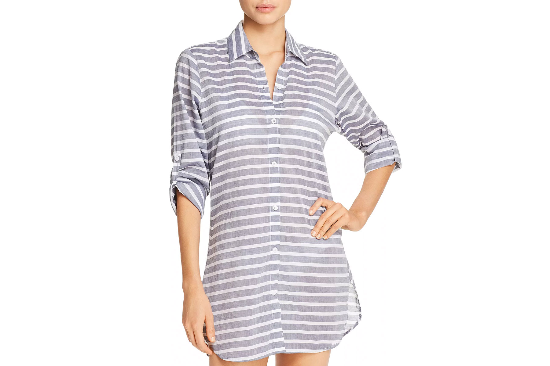 Blue and white striped shirtdress cover up