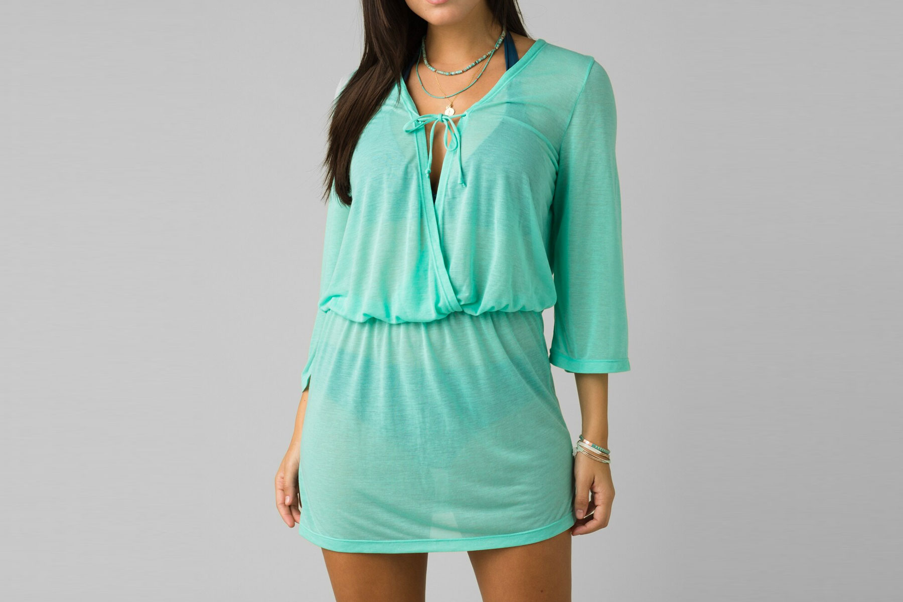 Green swim cover up dress