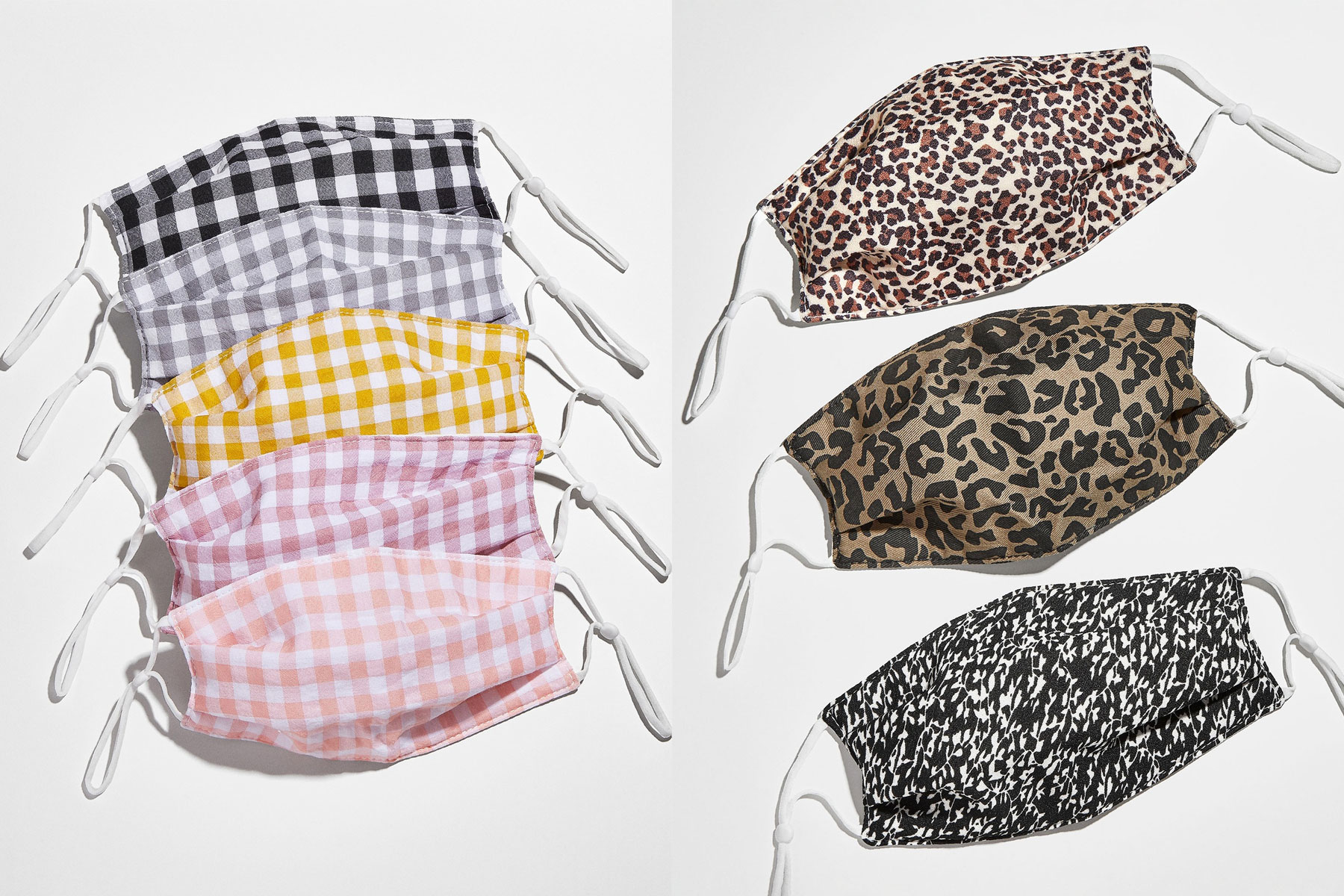 Variety of patterned face masks
