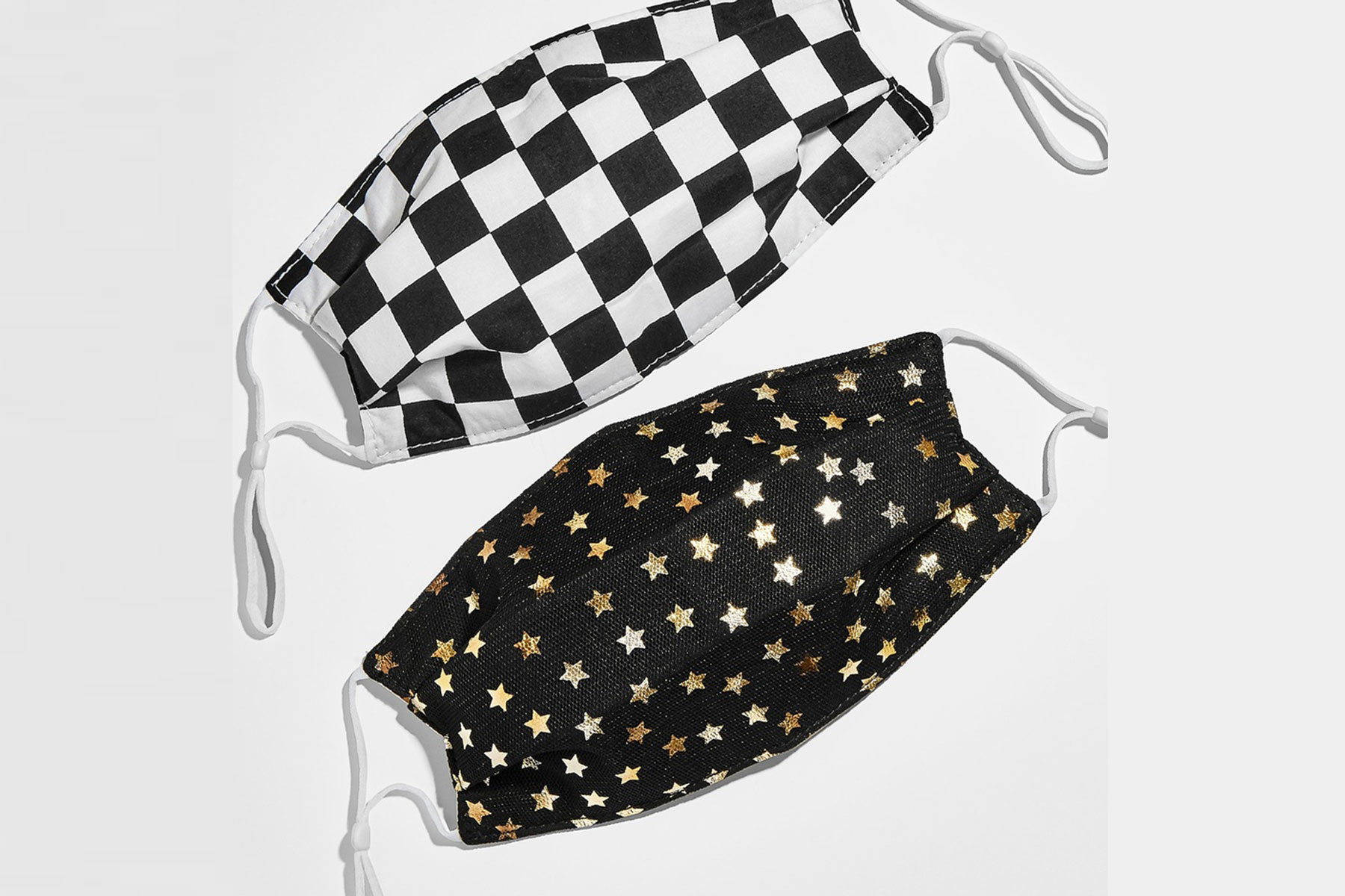 Black and white patterned face masks