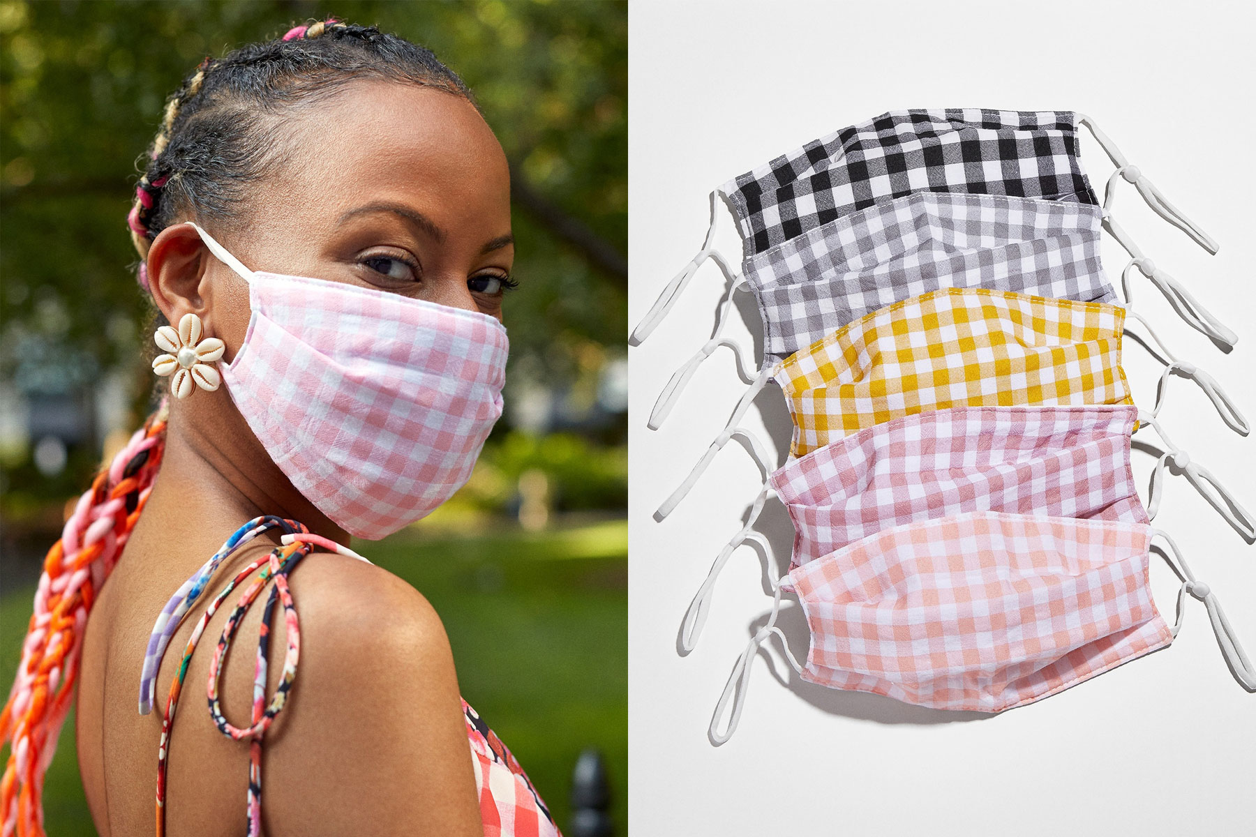 Woman wearing pink and white gingham face mask