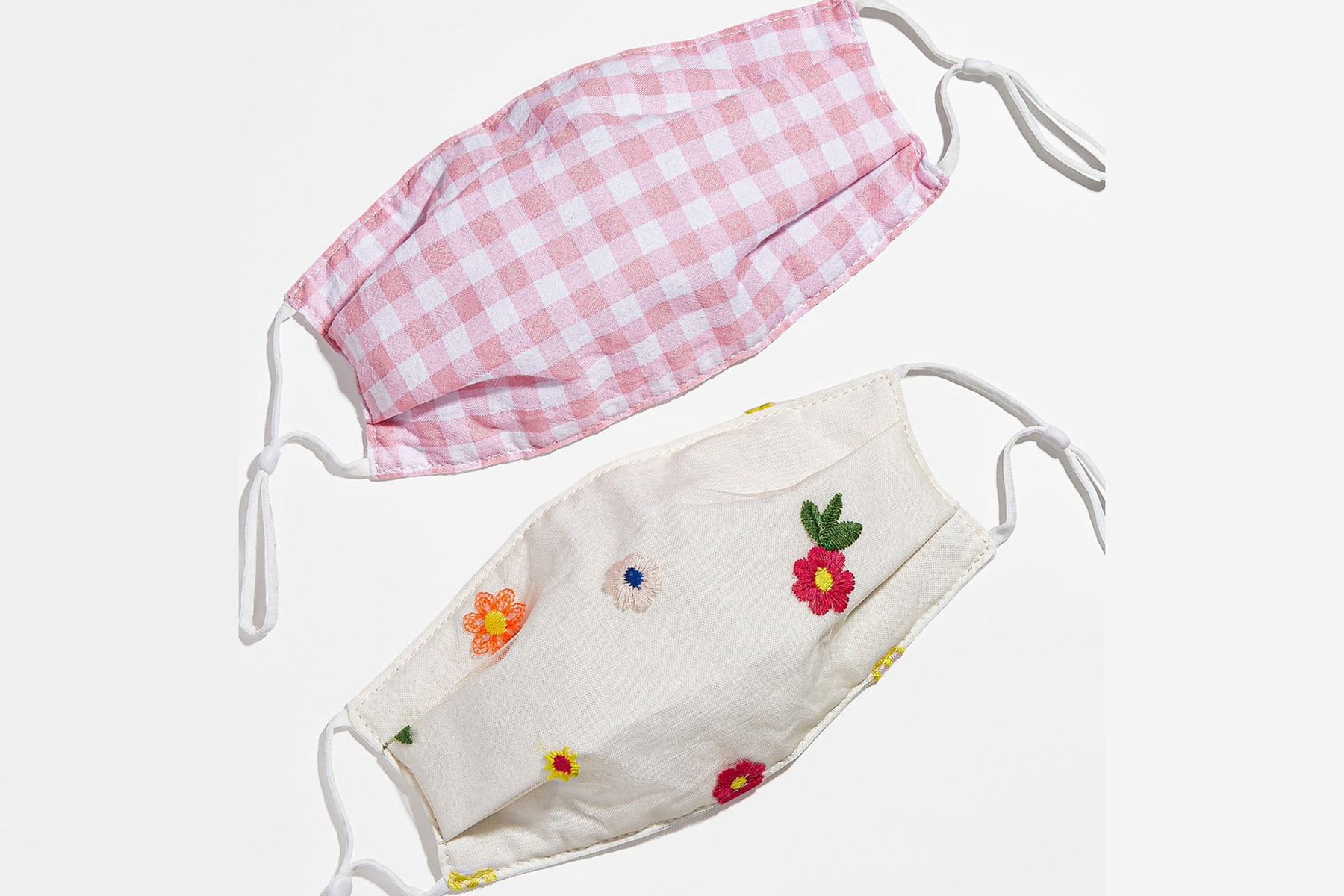 Pink and white patterned face masks