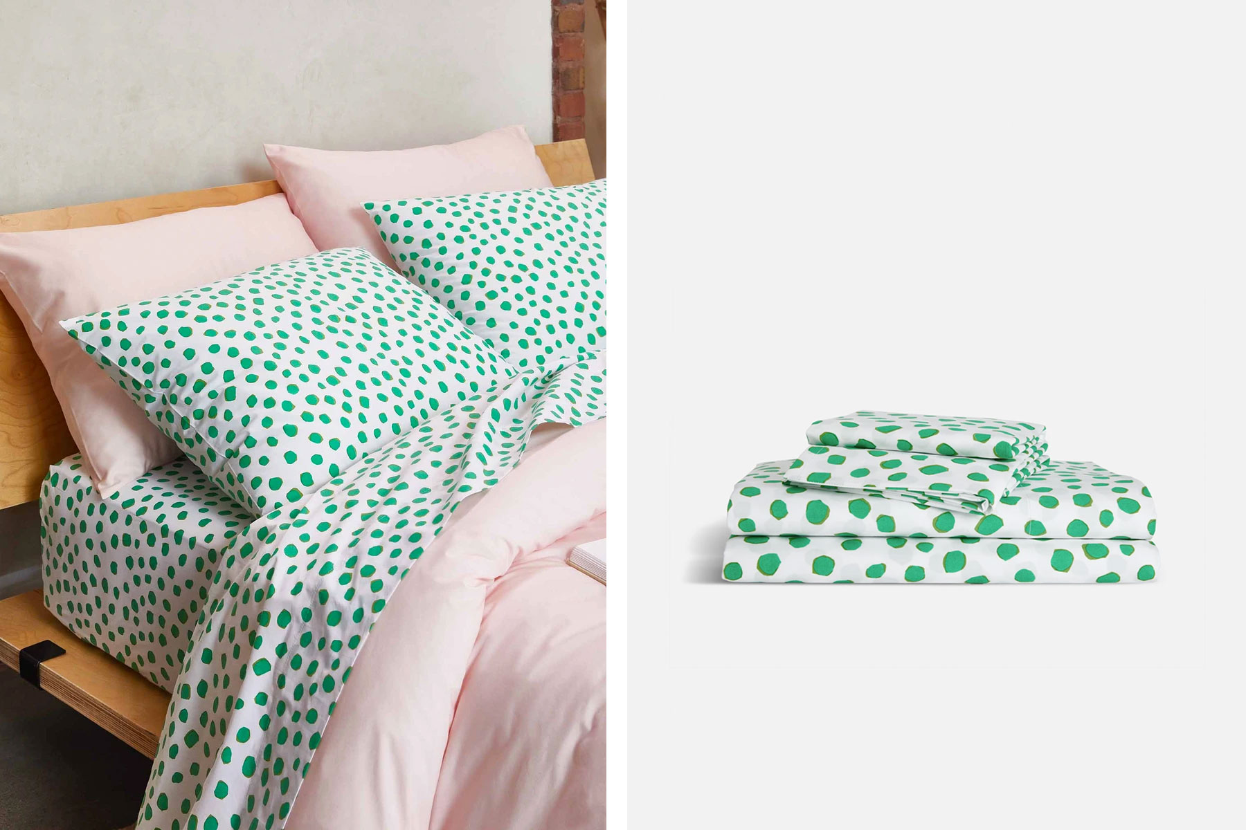 Green polka dot bedding