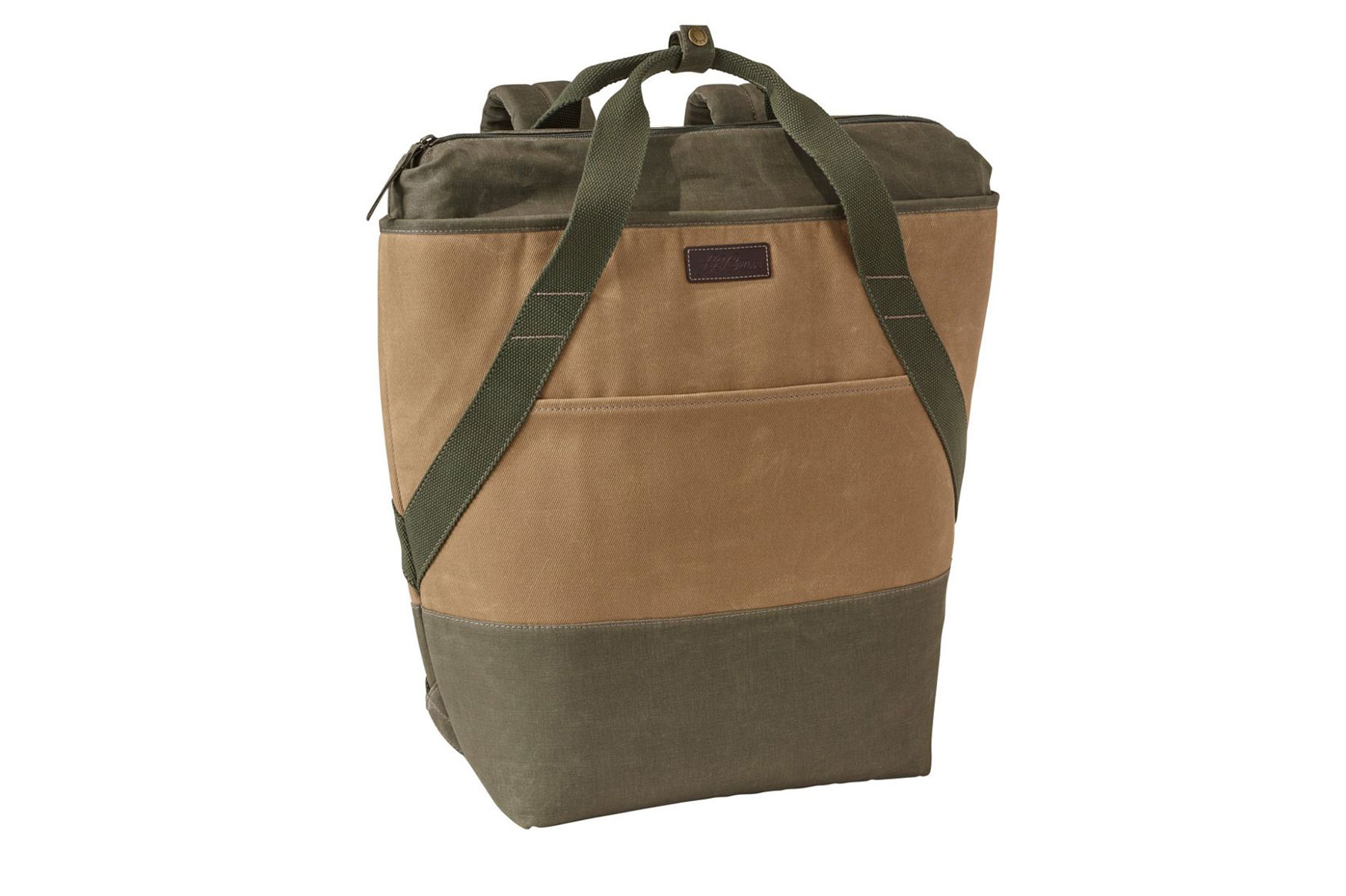 Tan and green canvas cooler backpack