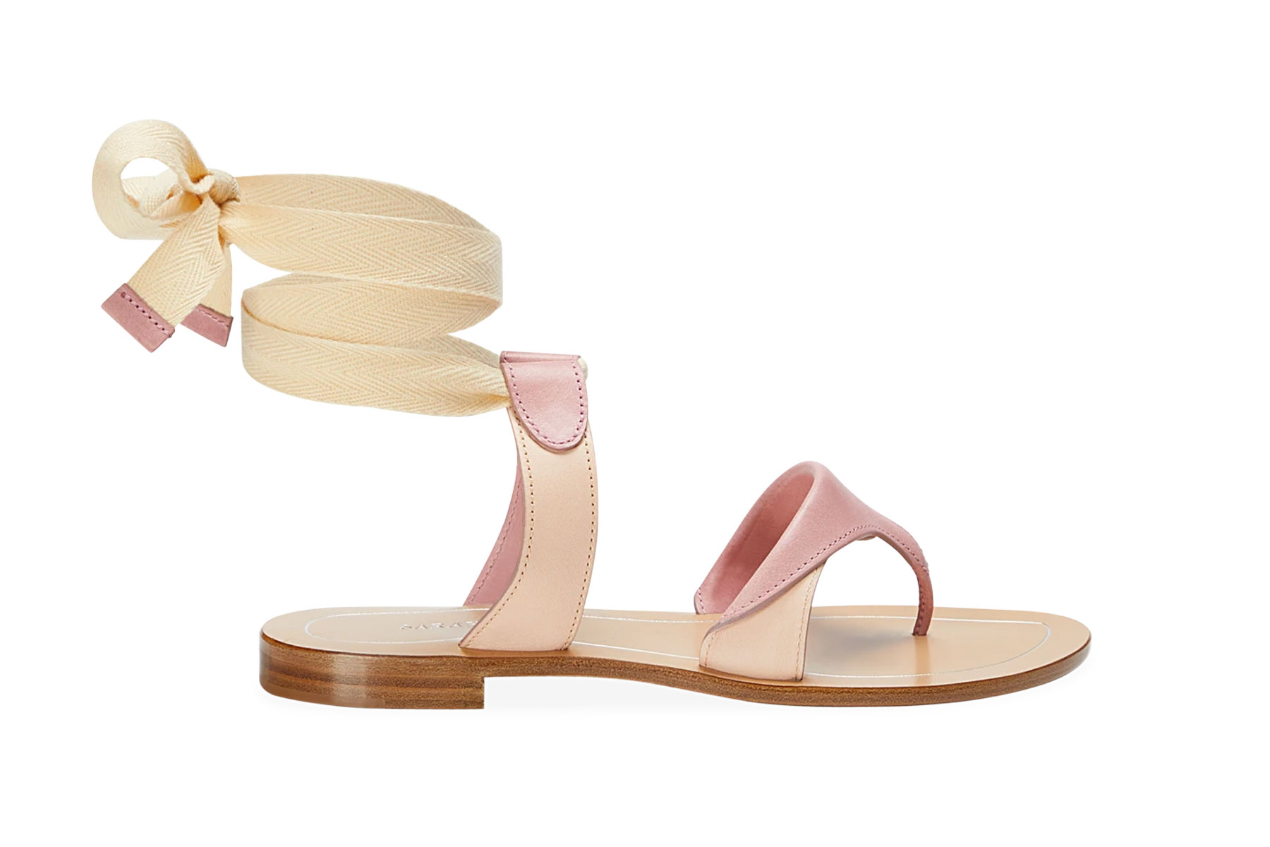 Pink and beige sandals