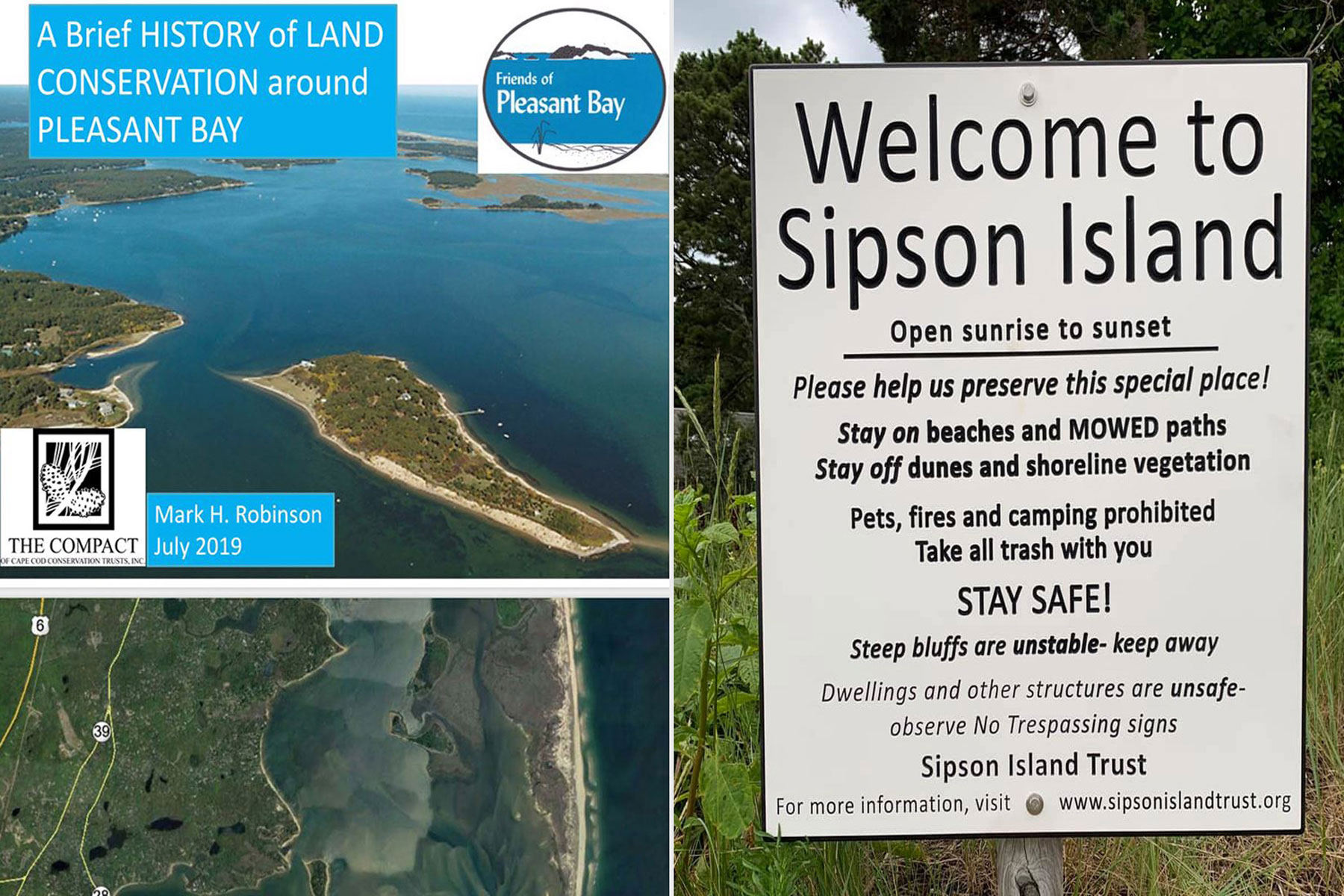 Sipson Island map and welcome sign