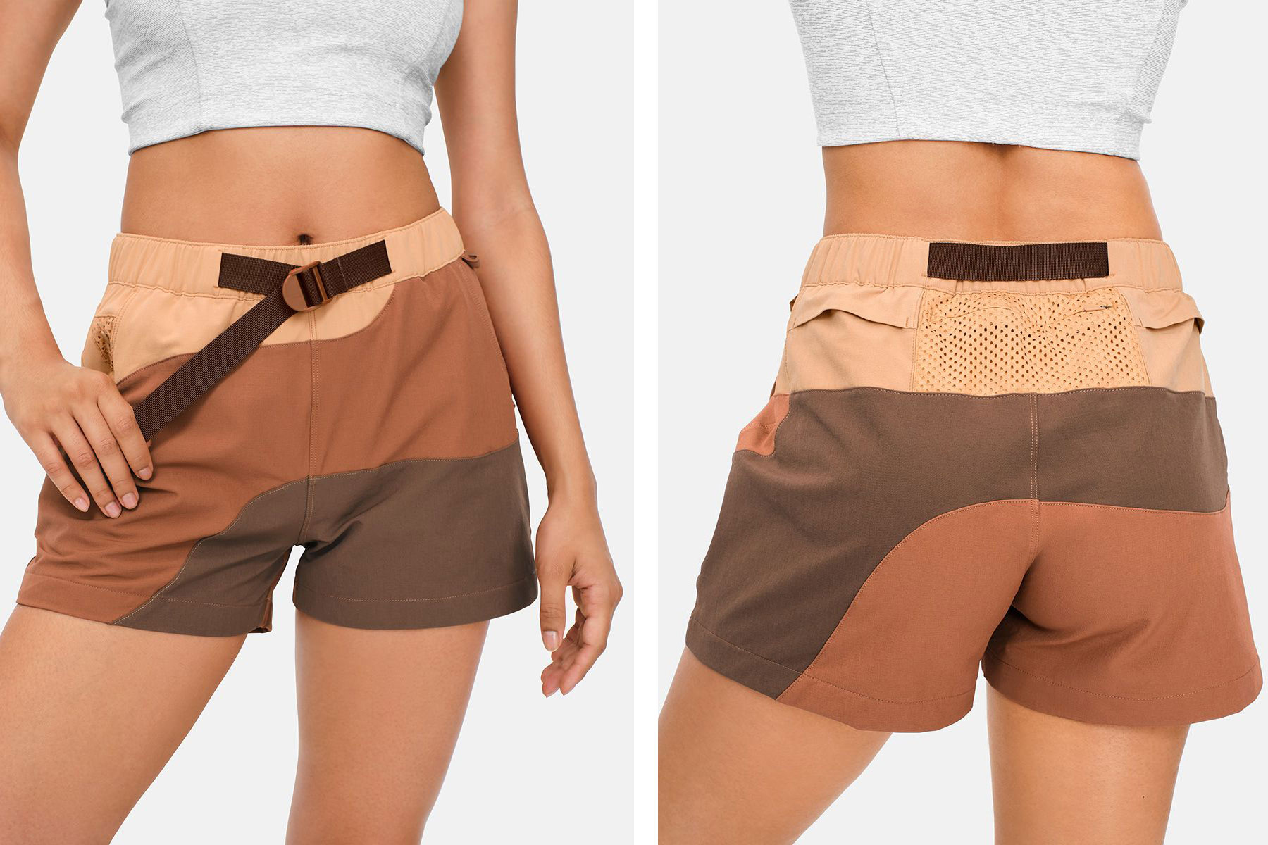Brown patterned hiking shorts for women