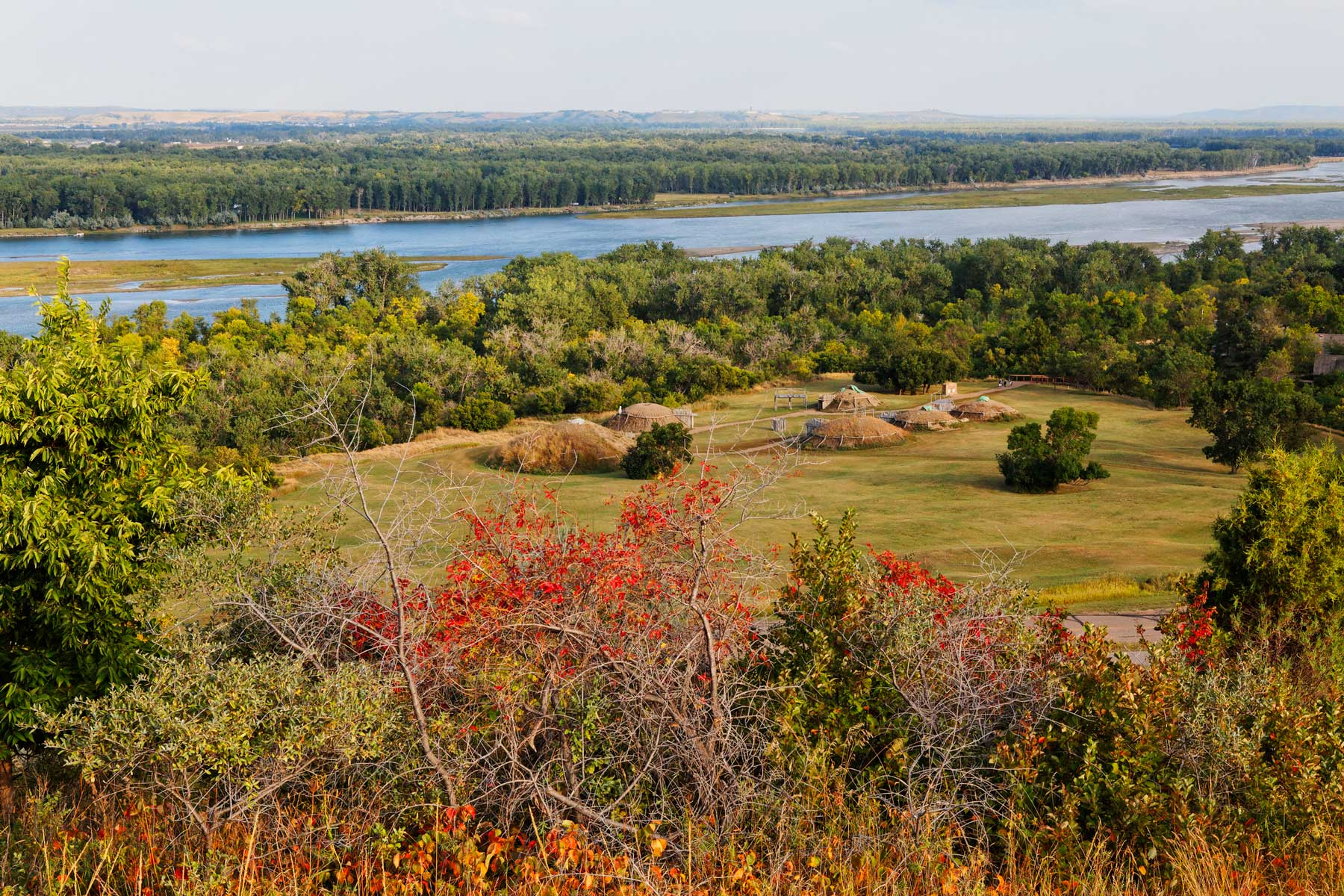 Mandan village in Abraham Lincoln State Park and Missouri River, Bismarck, North Dakota