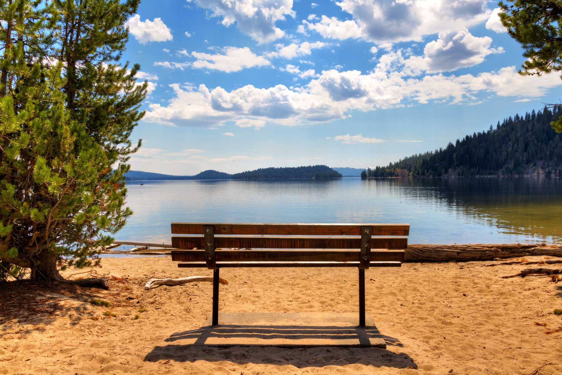 Bench on north shore of Payette Lake, McCall, Idaho