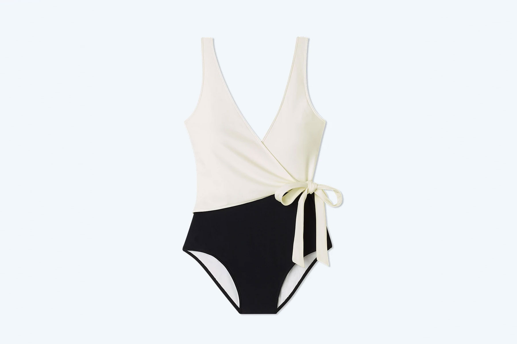 White and black one piece swimsuit