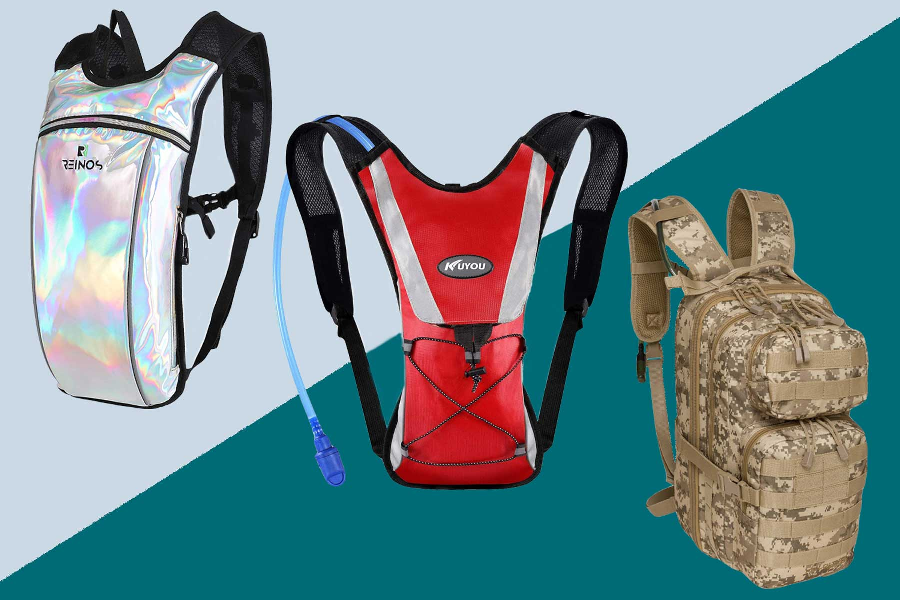 Hydration backpacks in red, camo, and iridescent