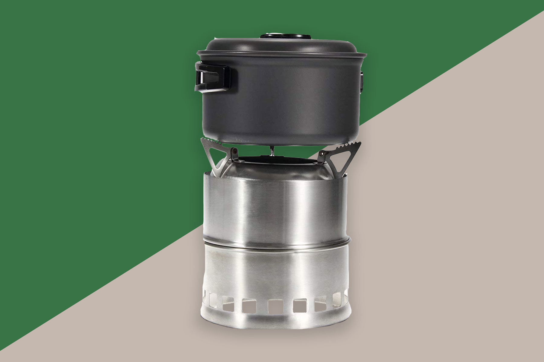 Camping stove with cooking pot