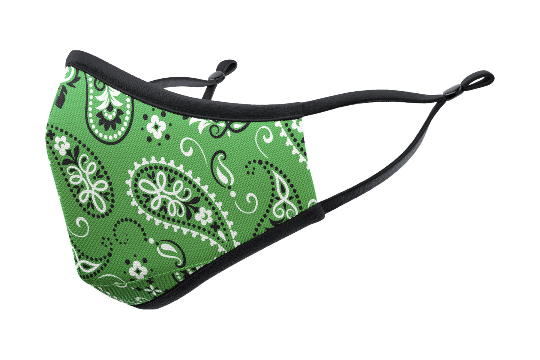 Green bandana print face mask