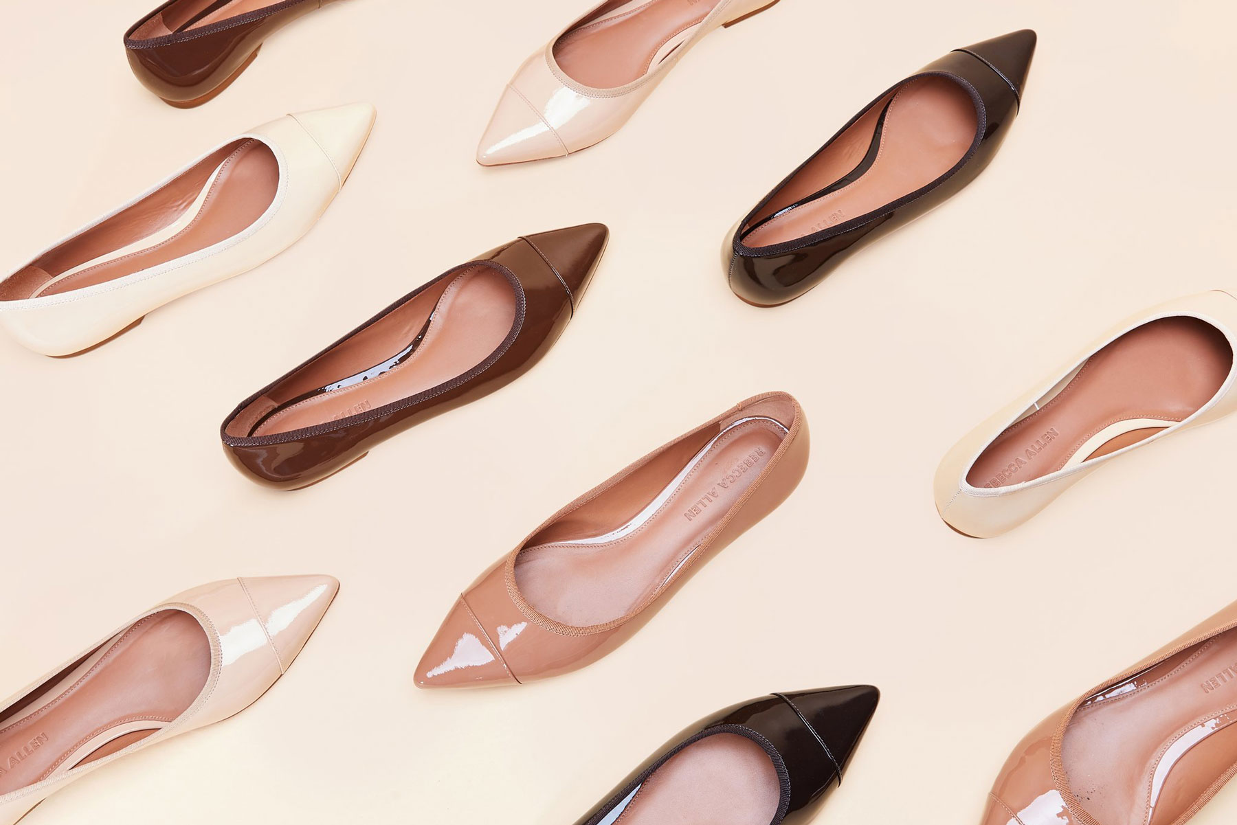 various ballet flats in nude shades