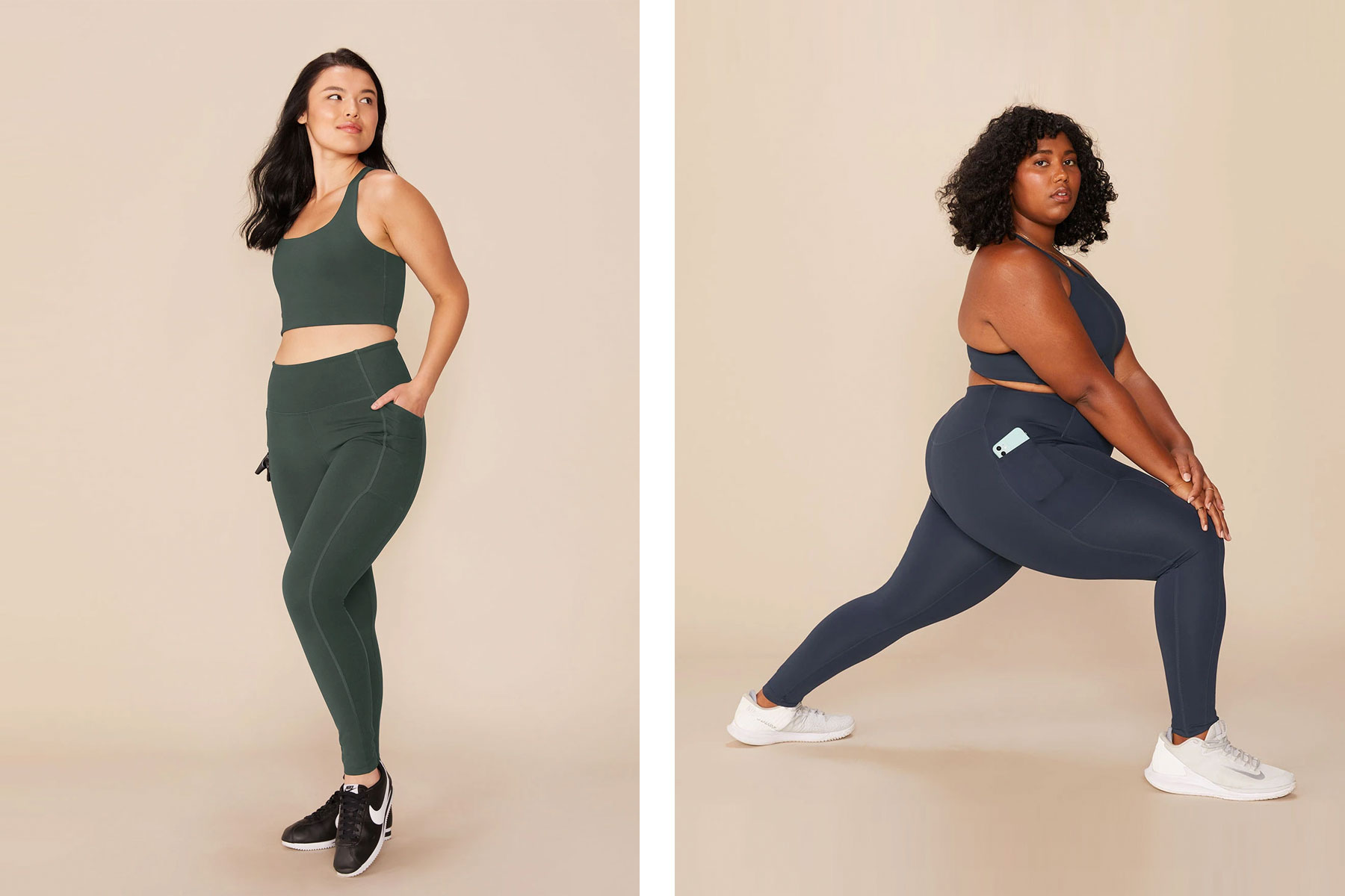Women wearing dark green and navy sports bras and leggings