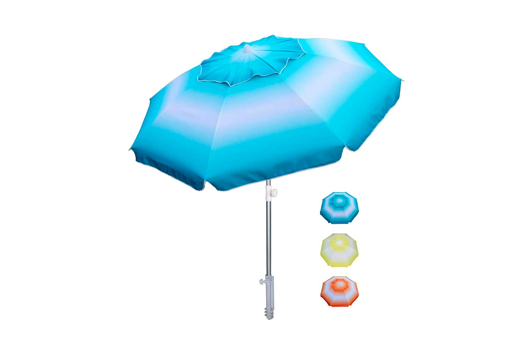 Product image of blue beach umbrella and showing different colors in the bottom right of yellow and orange