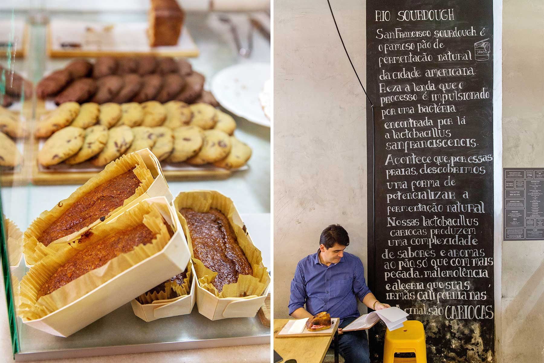 Two scenes from Slow Bakery, in Rio de Janeiro, Brazil: treats on display, and man reading the newspaper on the terrace