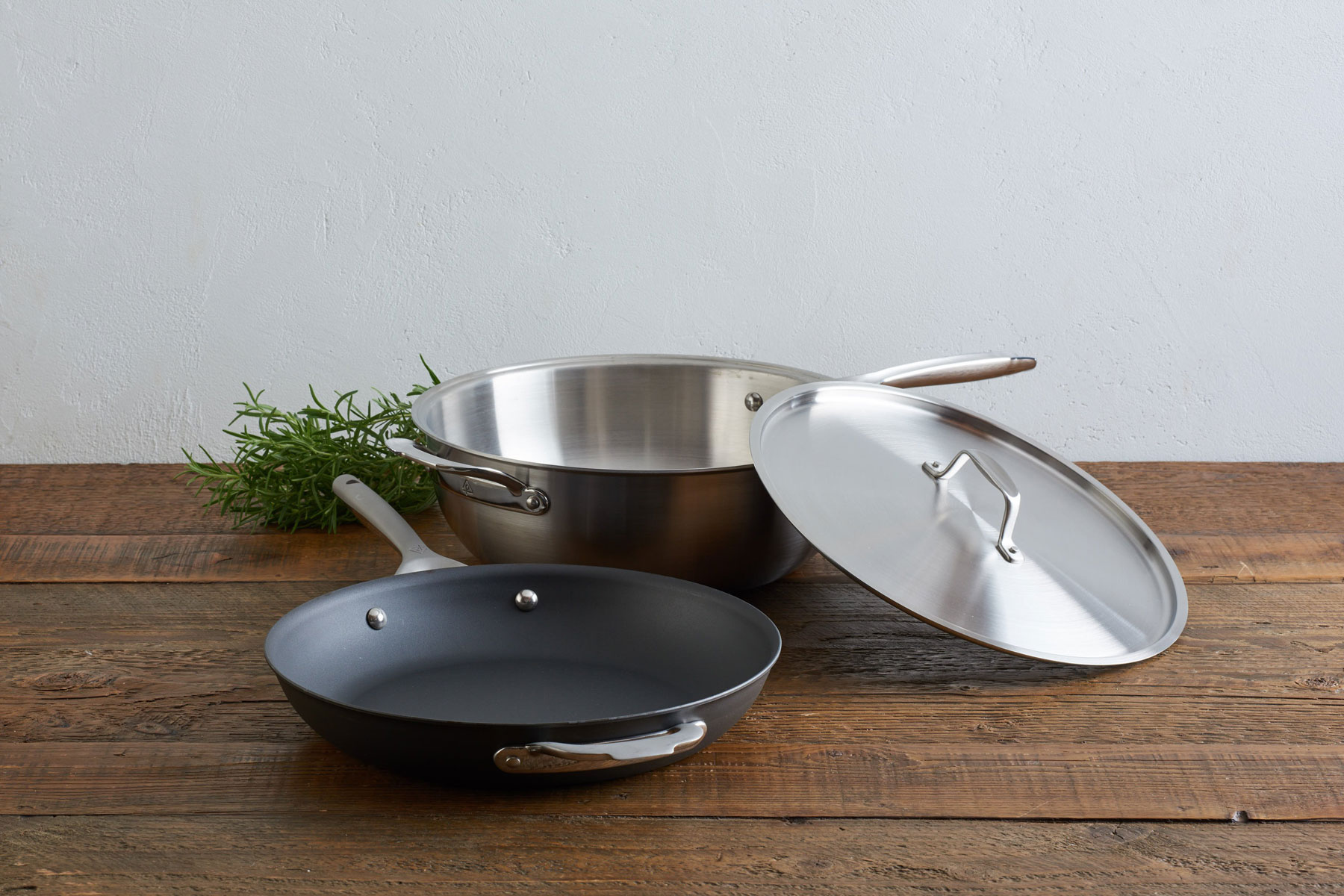 Stainless steel and cast iron pans