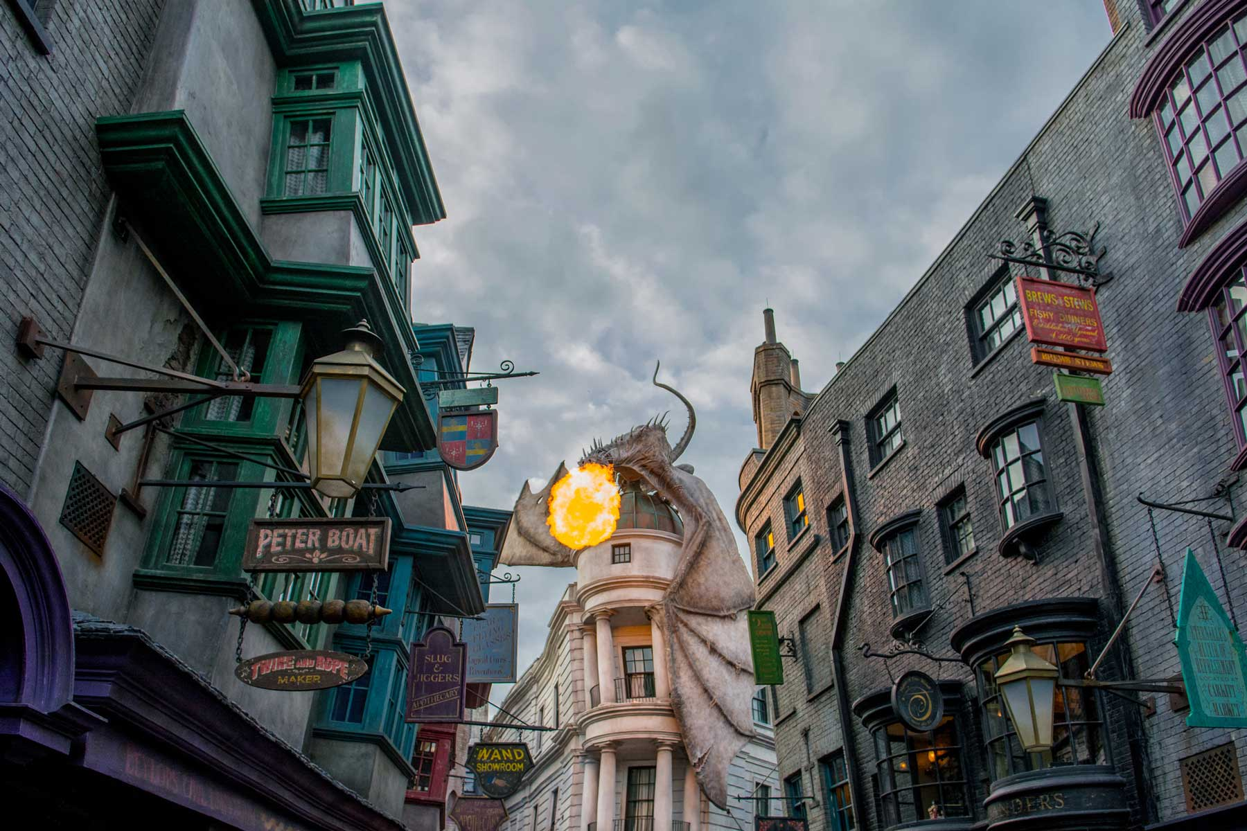 Dragon breathing fire at The Wizarding World of Harry Potter - Diagon Alley in Universal Studios Florida.