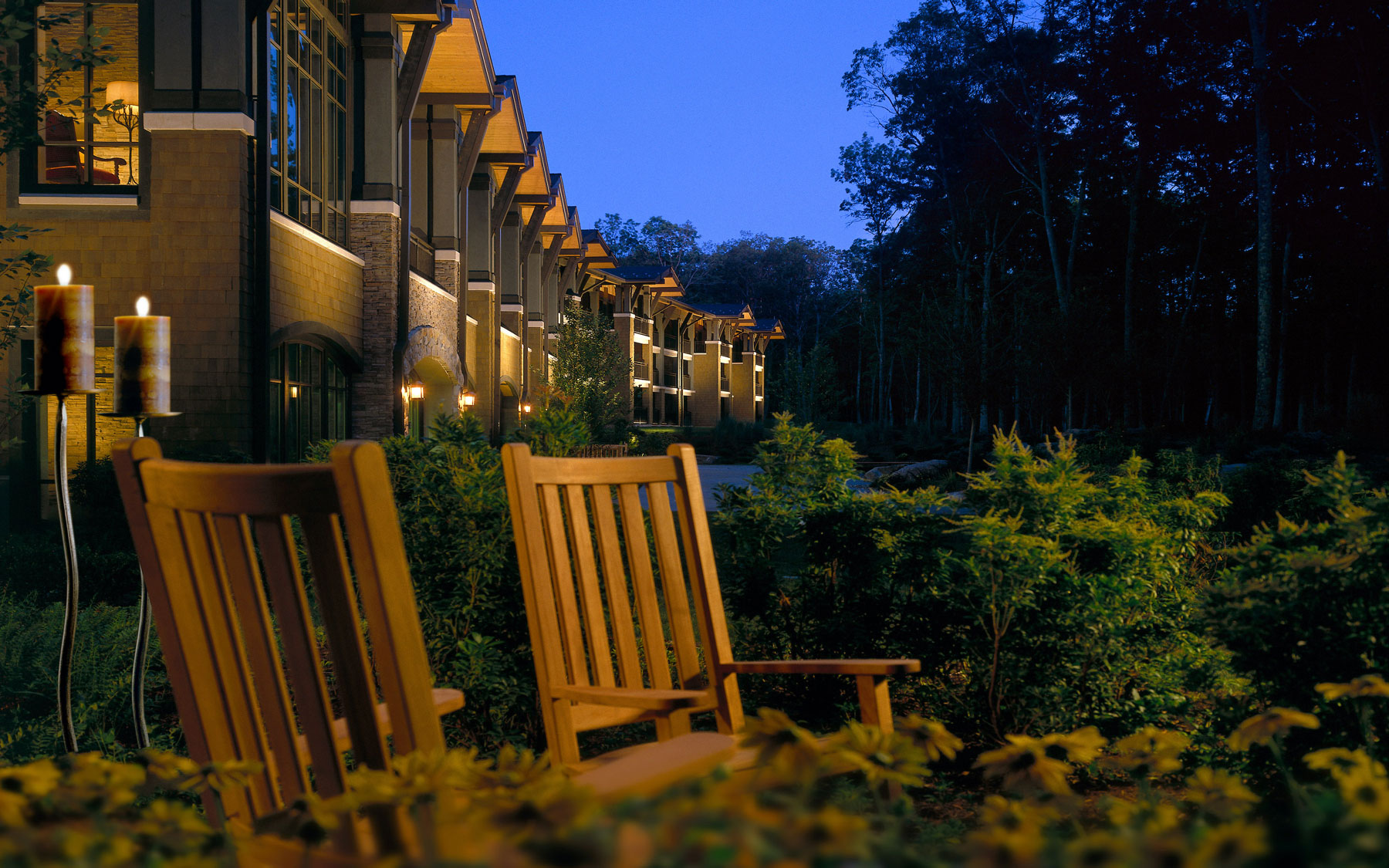 Rocking chairs at The Lodge at Woodloch