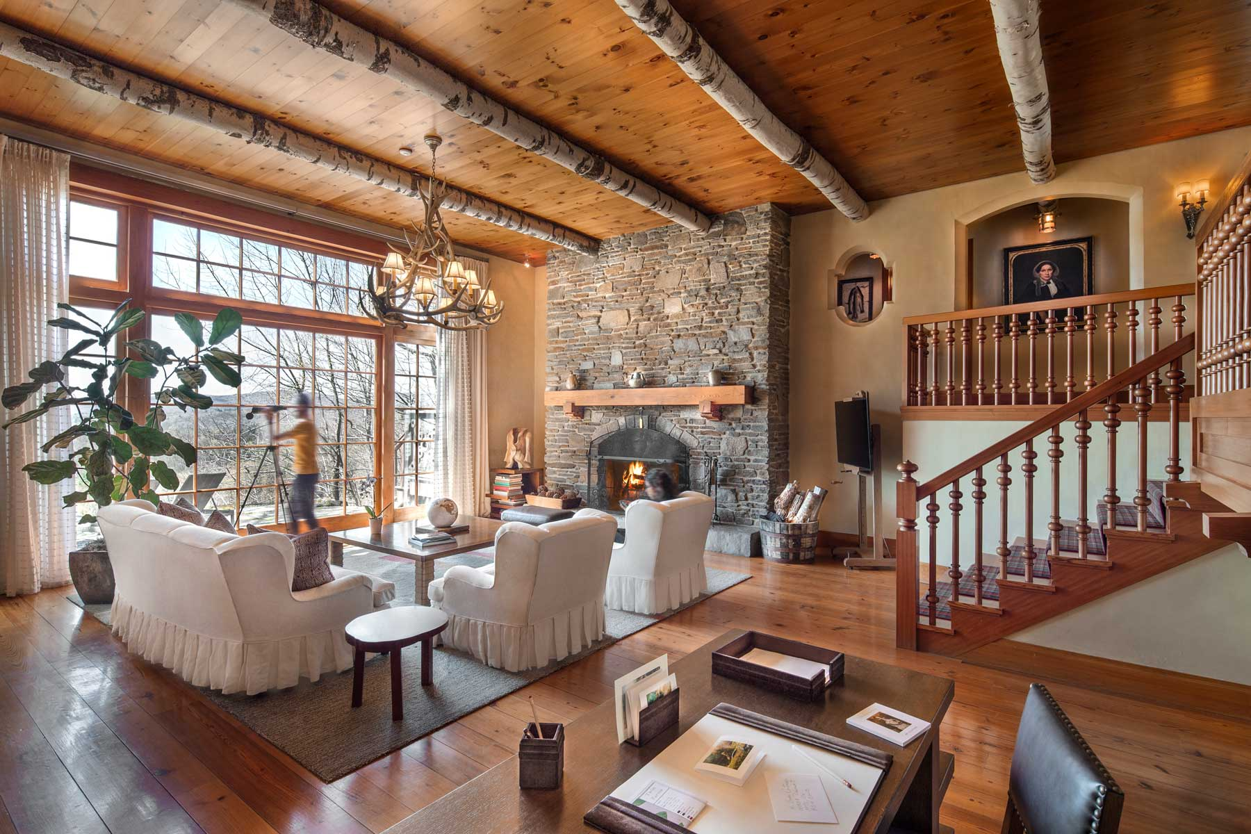 Living room of a Chalet at Twin Farms luxury resort in Vermont