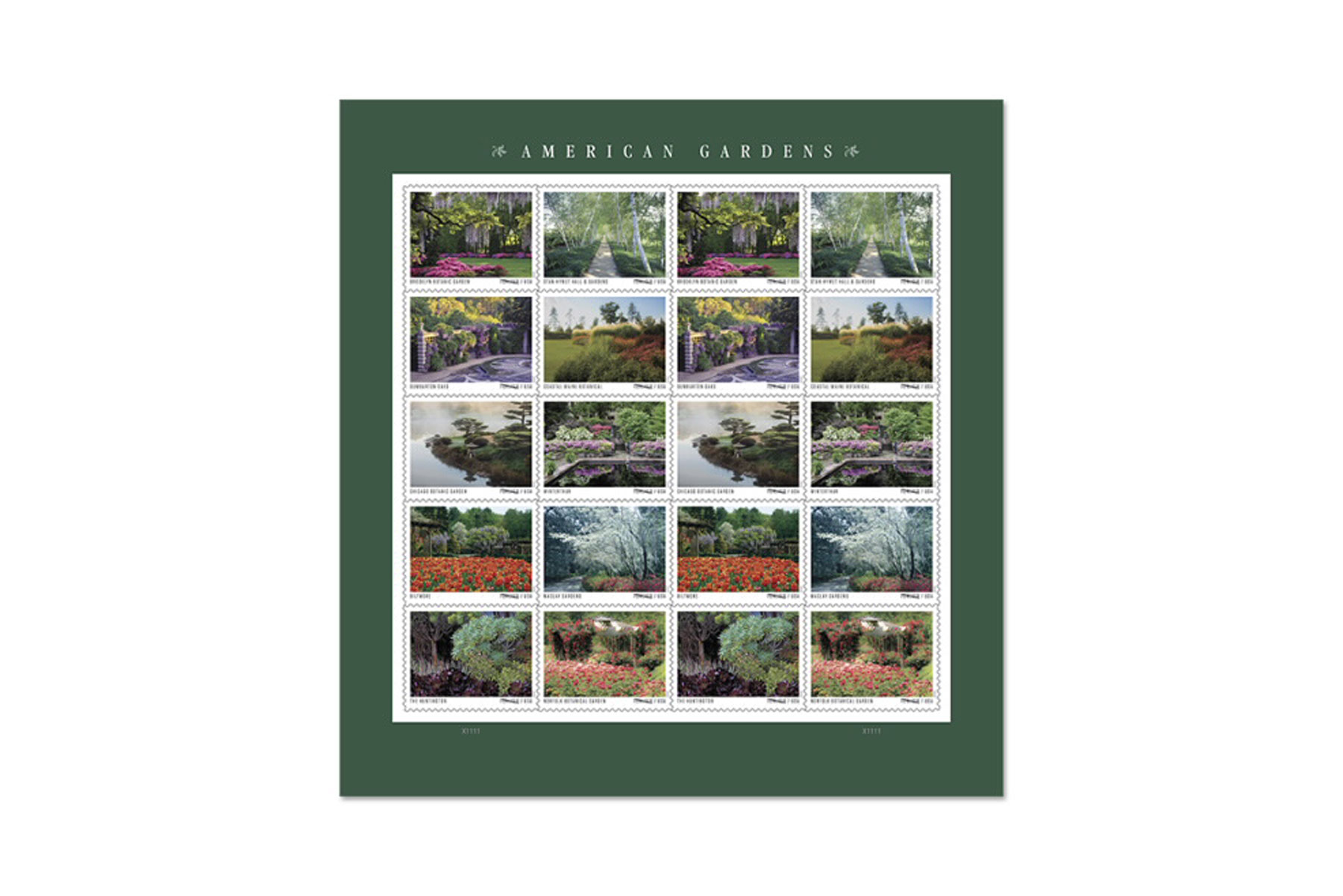 Sheet of garden-themed stamps