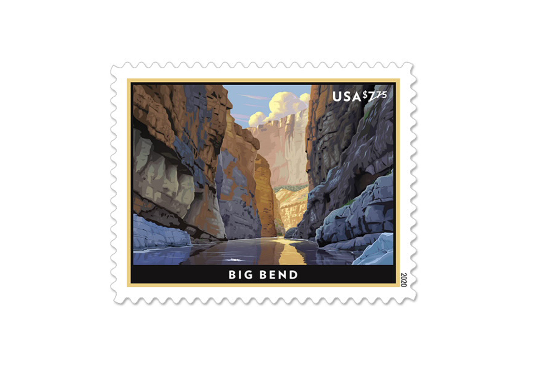 Illustrated valley on postage stamp