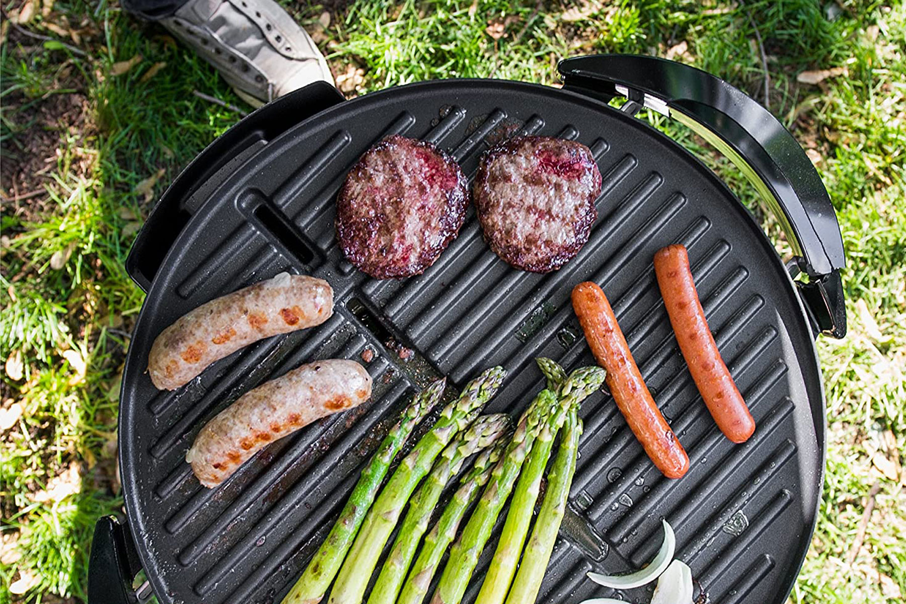 Various foods on grill