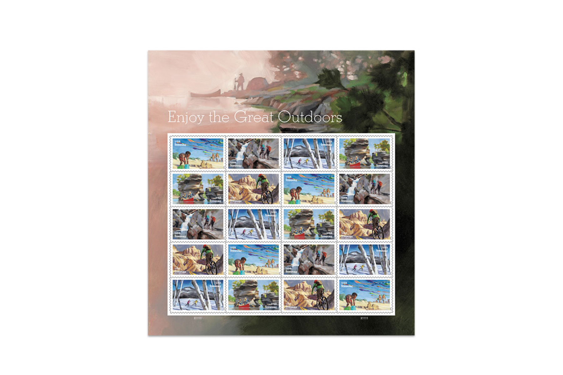 Sheet of outdoor-themed stamps