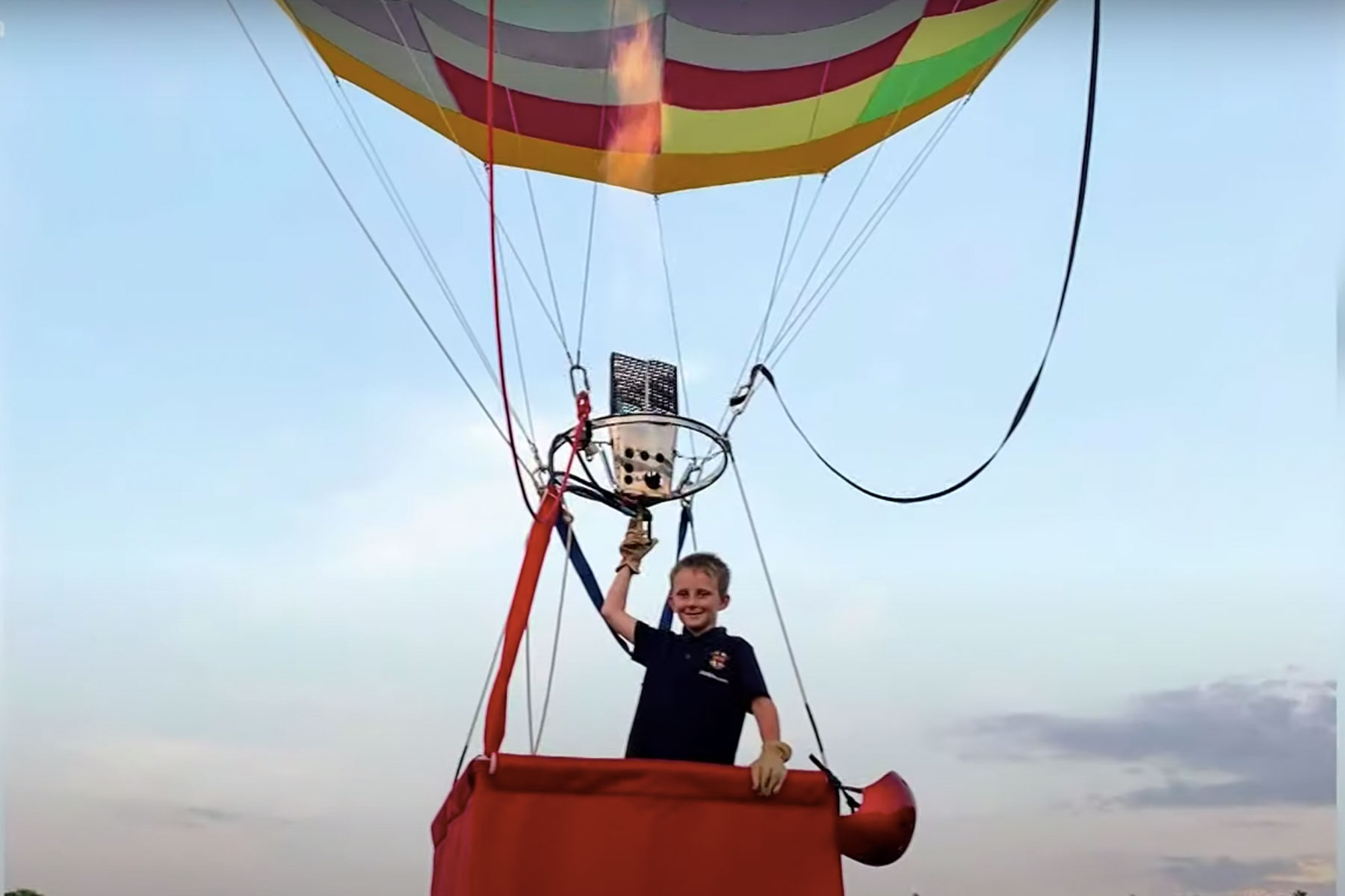 J.T. Head in a hot-air balloon