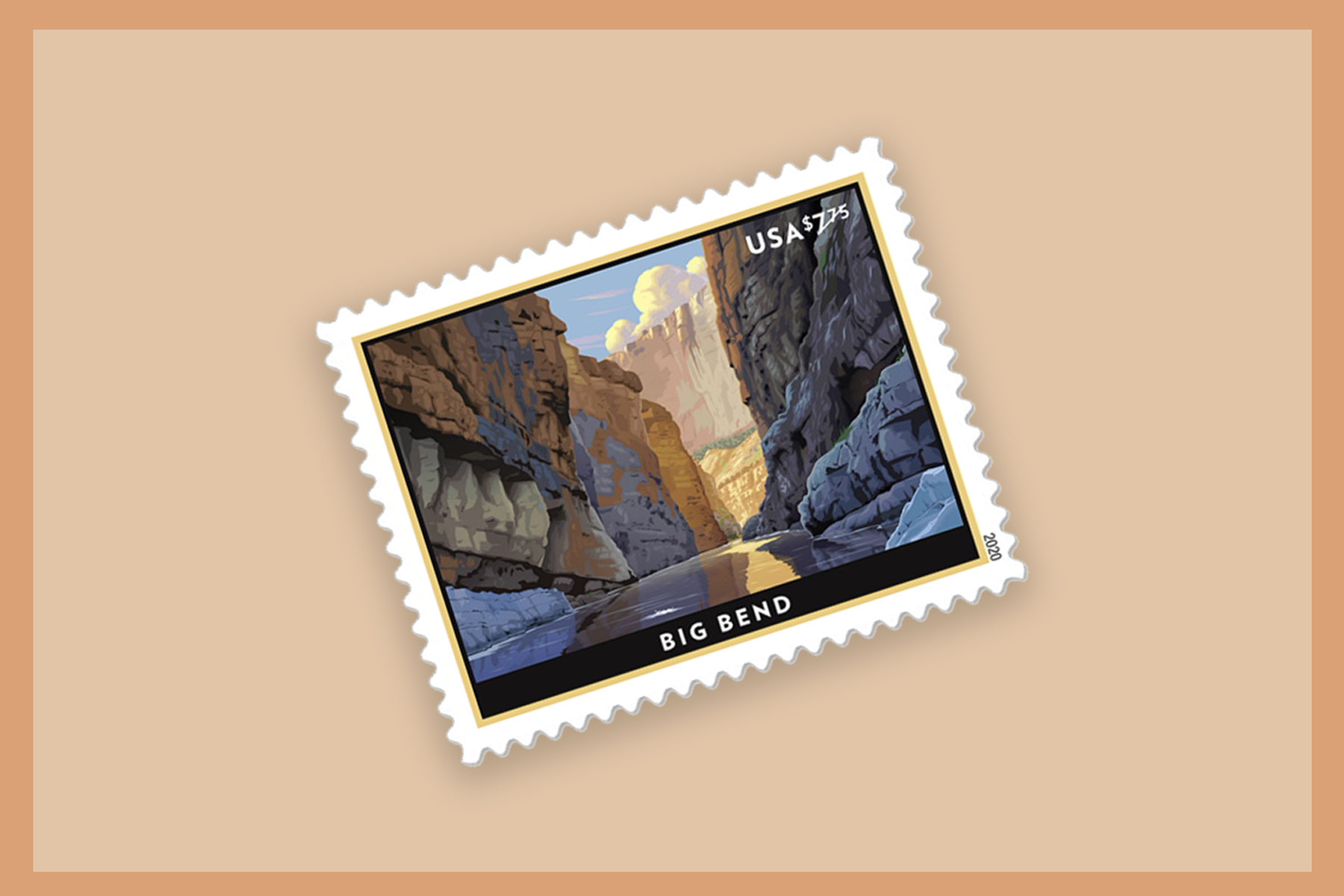 Outdoor-themed Illustrated postage stamp